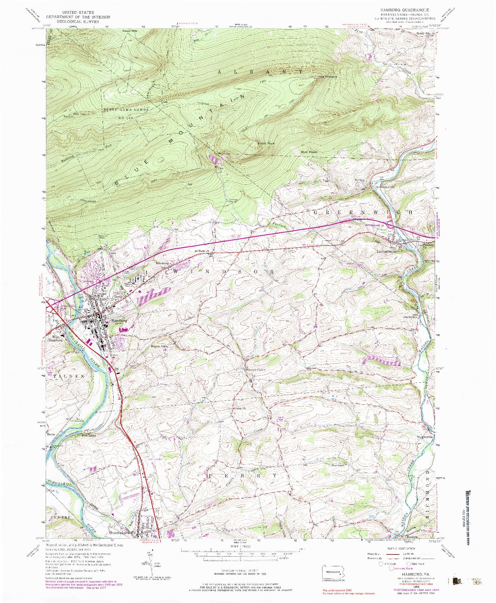 USGS 1:24000-SCALE QUADRANGLE FOR HAMBURG, PA 1956