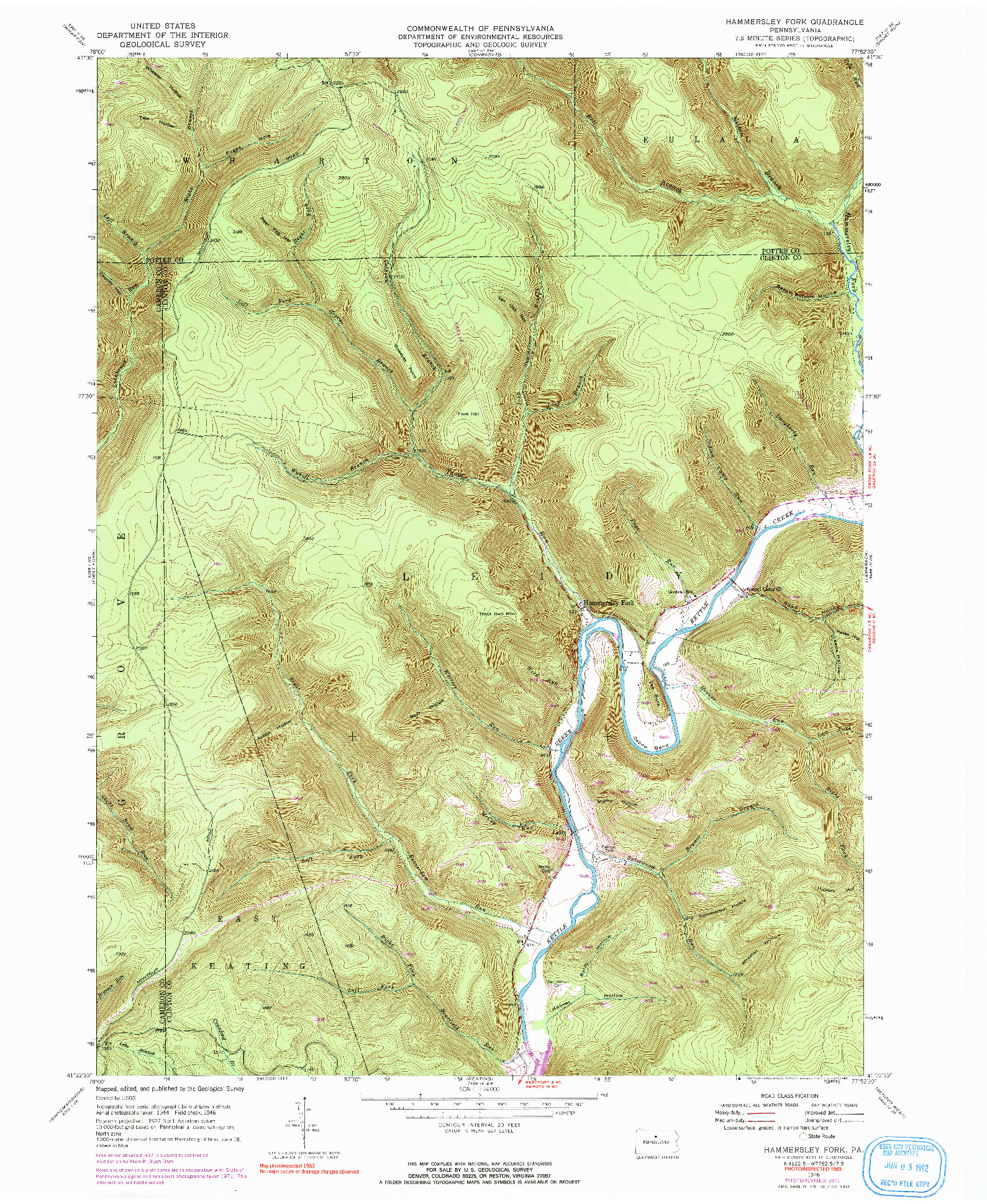 USGS 1:24000-SCALE QUADRANGLE FOR HAMMERSLEY FORK, PA 1946