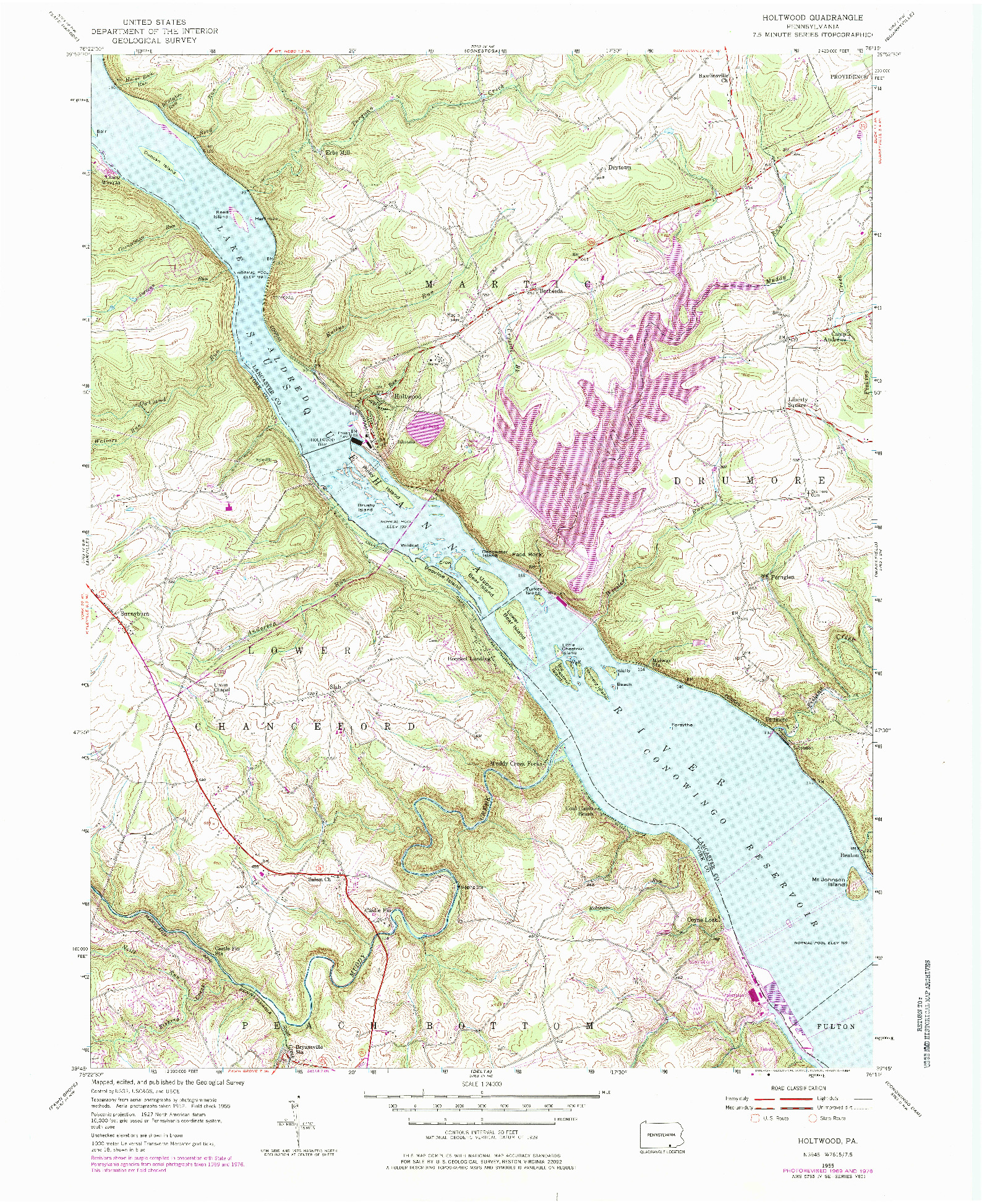 USGS 1:24000-SCALE QUADRANGLE FOR HOLTWOOD, PA 1955