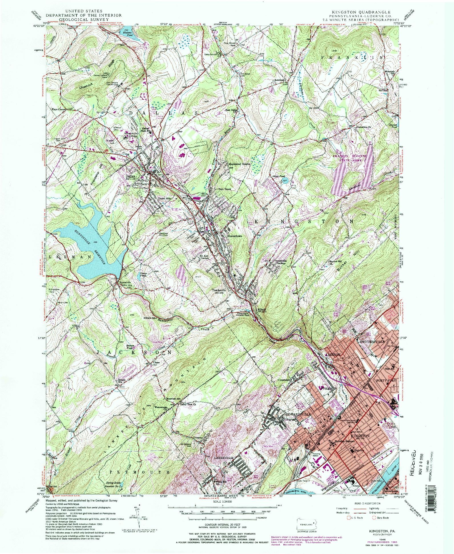 USGS 1:24000-SCALE QUADRANGLE FOR KINGSTON, PA 1946
