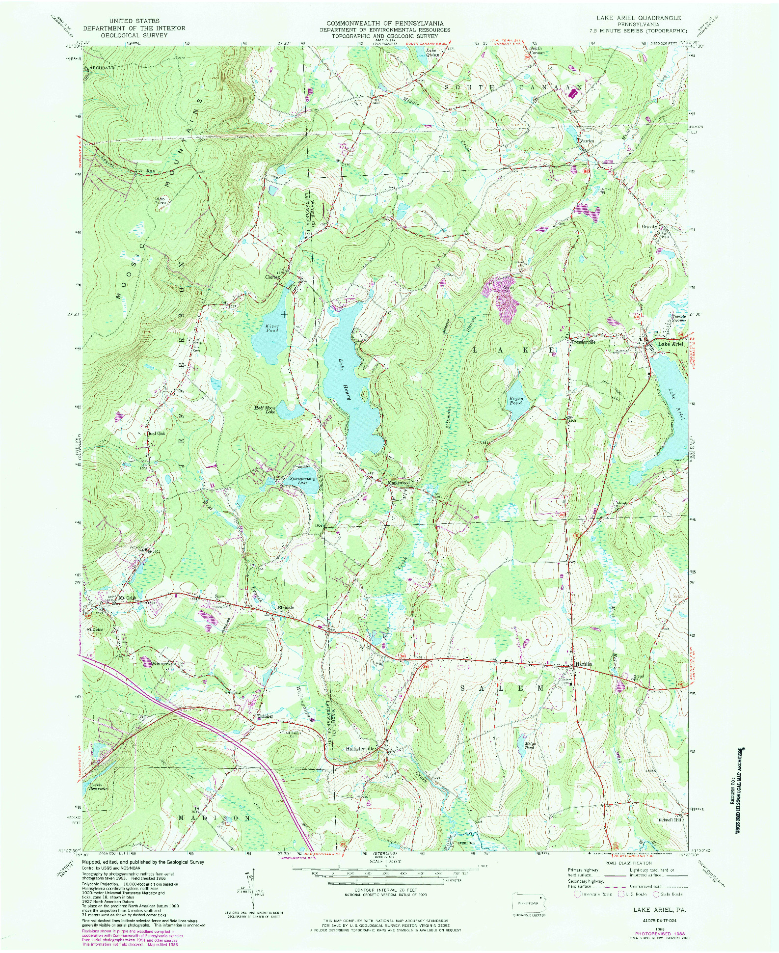 USGS 1:24000-SCALE QUADRANGLE FOR LAKE ARIEL, PA 1966