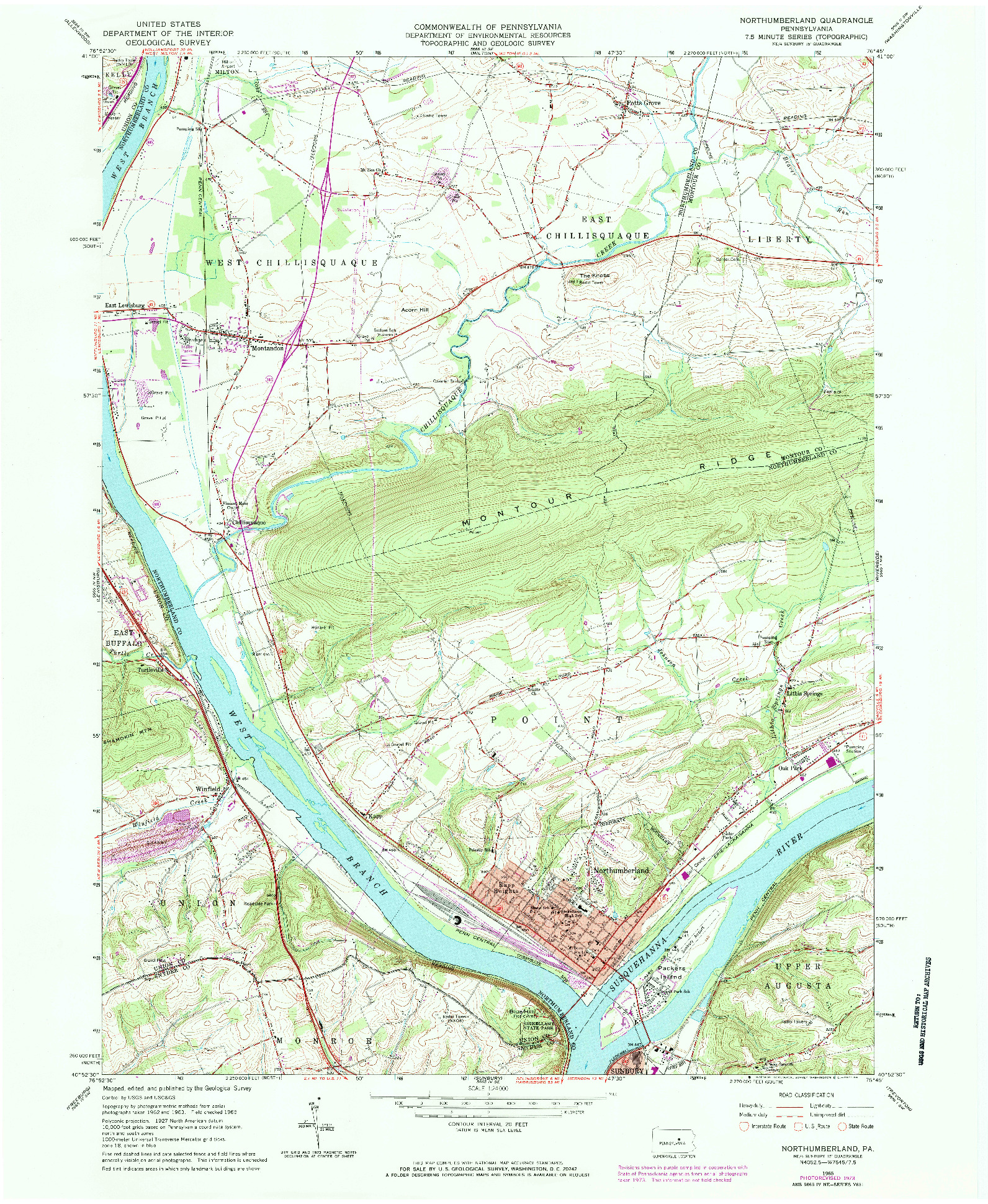 USGS 1:24000-SCALE QUADRANGLE FOR NORTHUMBERLAND, PA 1965