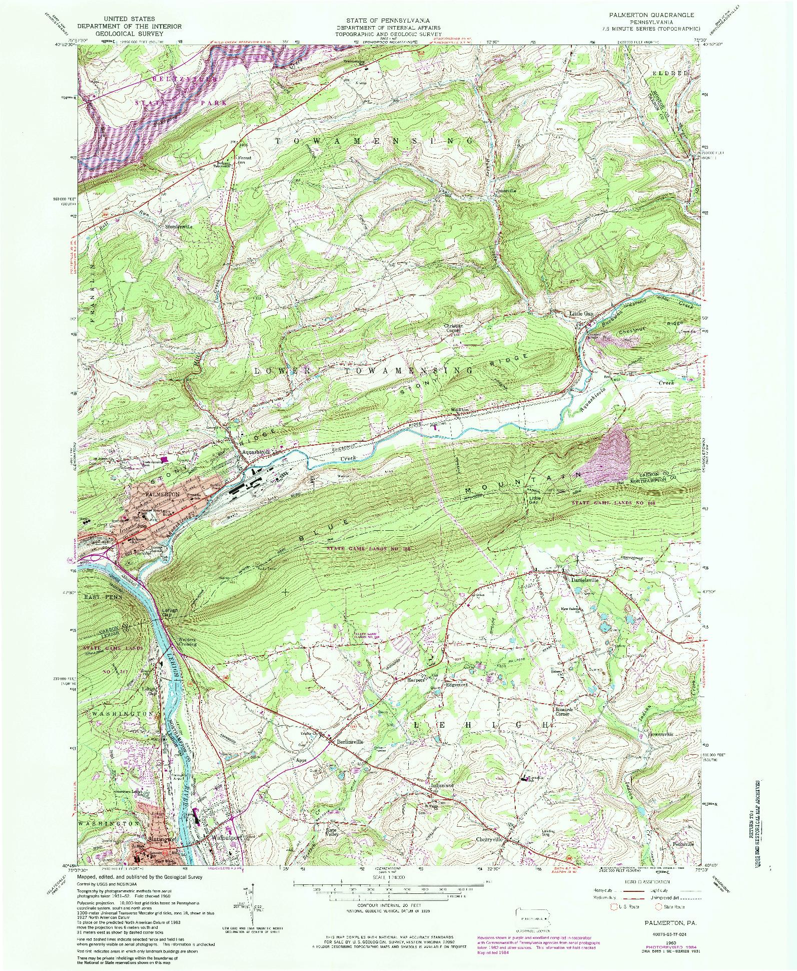 USGS 1:24000-SCALE QUADRANGLE FOR PALMERTON, PA 1960