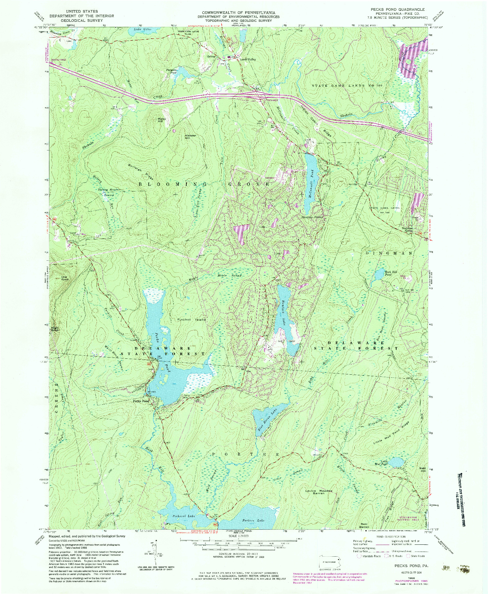 USGS 1:24000-SCALE QUADRANGLE FOR PECKS POND, PA 1966