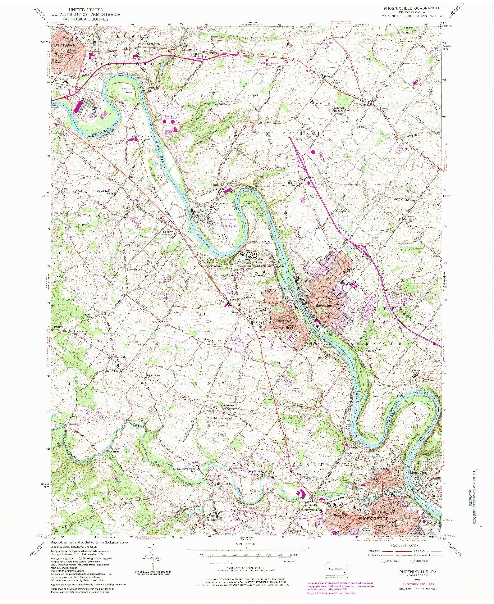 USGS 1:24000-SCALE QUADRANGLE FOR PHOENIXVILLE, PA 1955