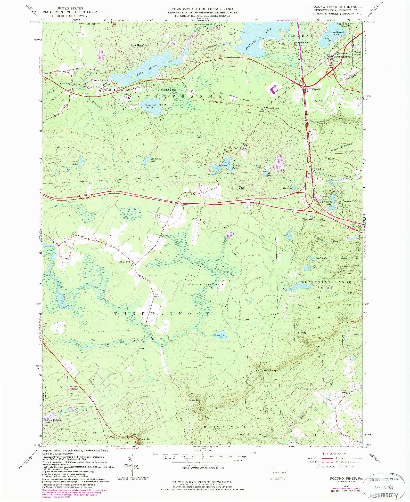 USGS 1:24000-SCALE QUADRANGLE FOR POCONO PINES, PA 1966