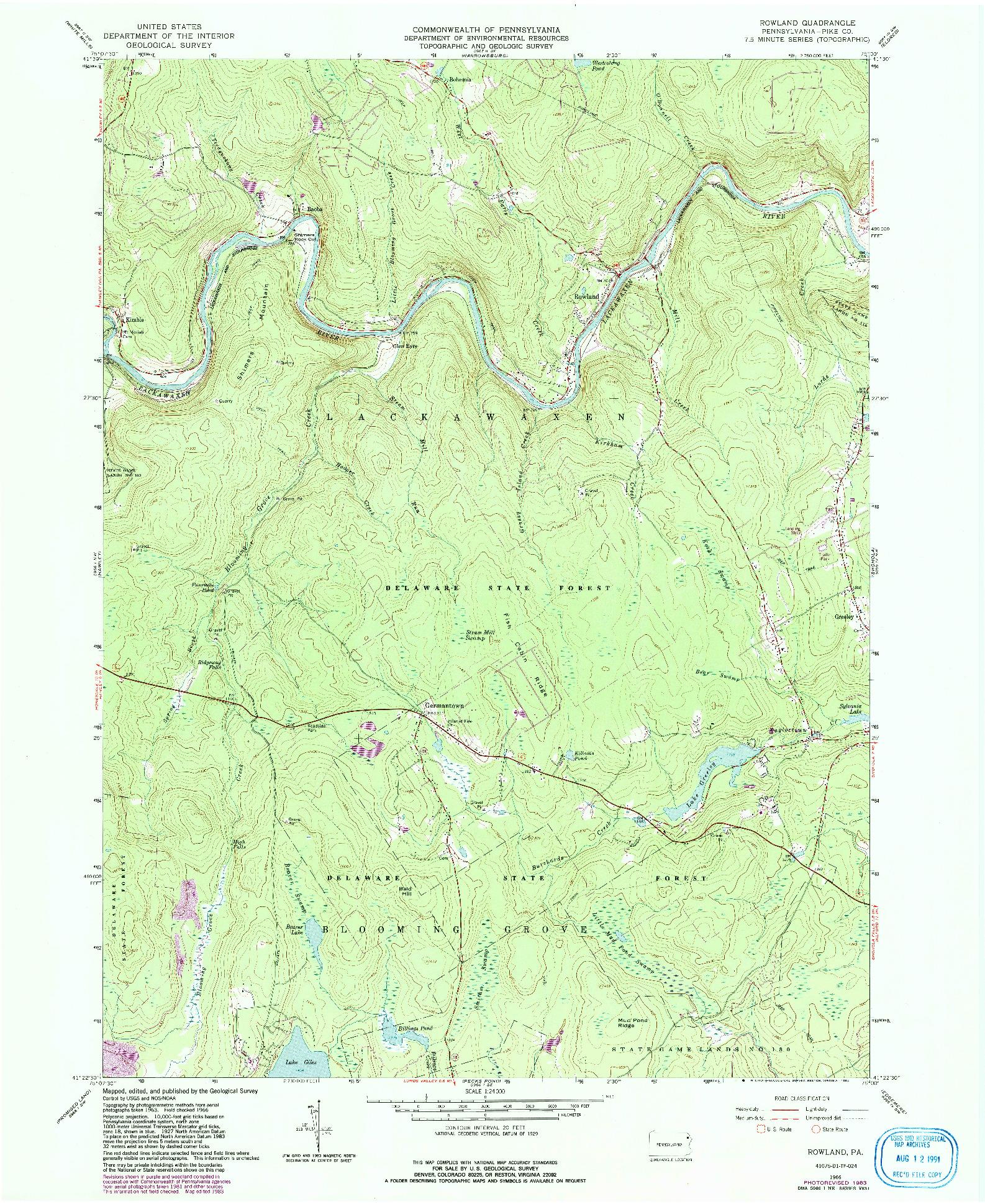 USGS 1:24000-SCALE QUADRANGLE FOR ROWLAND, PA 1966