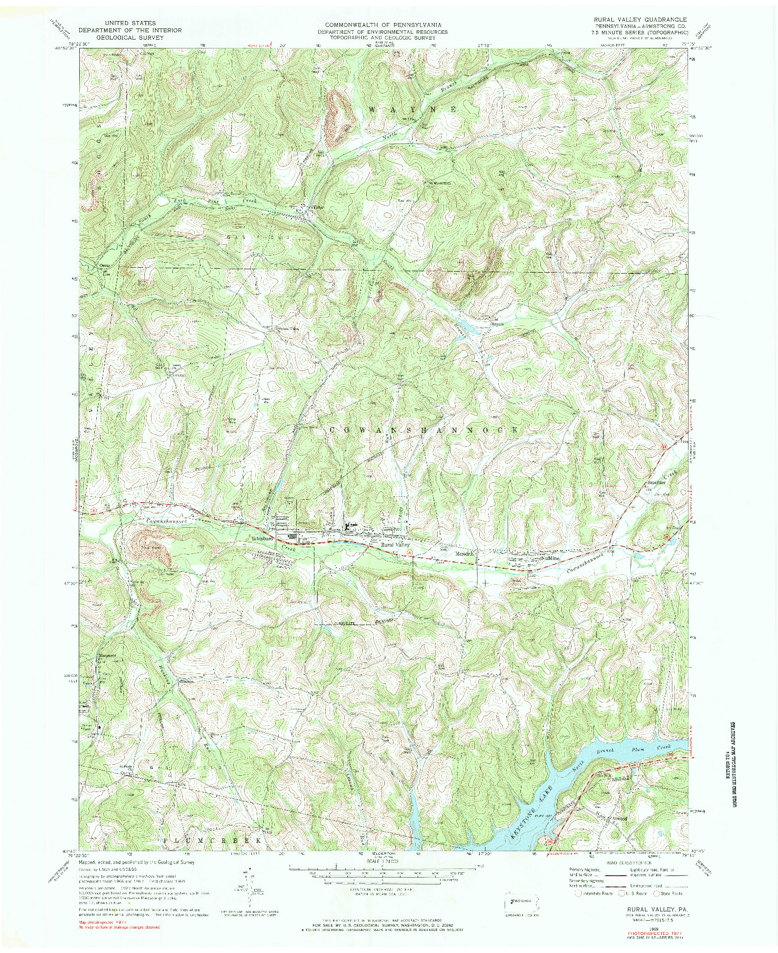 USGS 1:24000-SCALE QUADRANGLE FOR RURAL VALLEY, PA 1969
