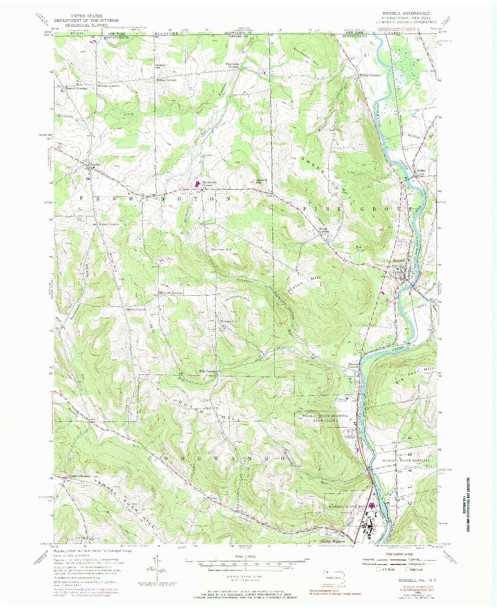 USGS 1:24000-SCALE QUADRANGLE FOR RUSSELL, PA 1954