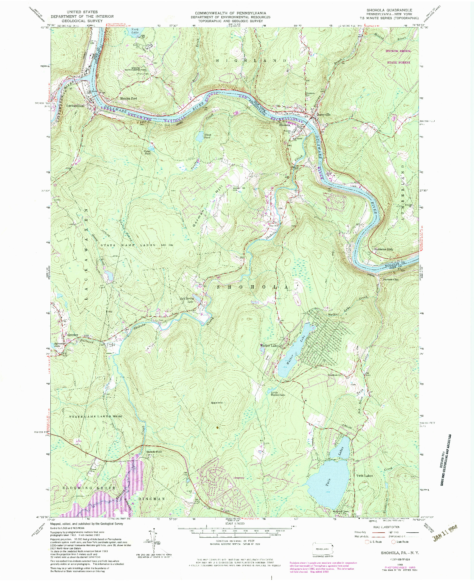 USGS 1:24000-SCALE QUADRANGLE FOR SHOHOLA, PA 1965