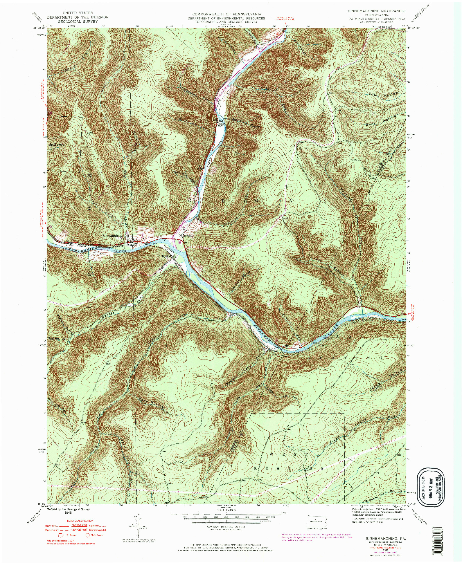 USGS 1:24000-SCALE QUADRANGLE FOR SINNEMAHONING, PA 1945