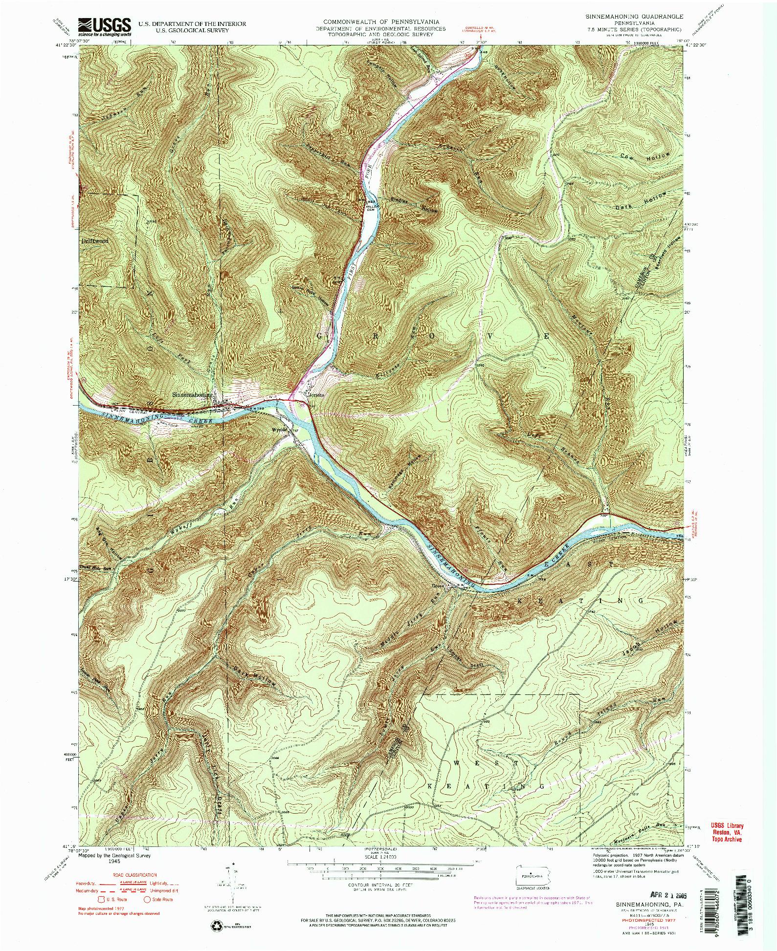 USGS 1:24000-SCALE QUADRANGLE FOR SINNEMAHONING, PA 1945