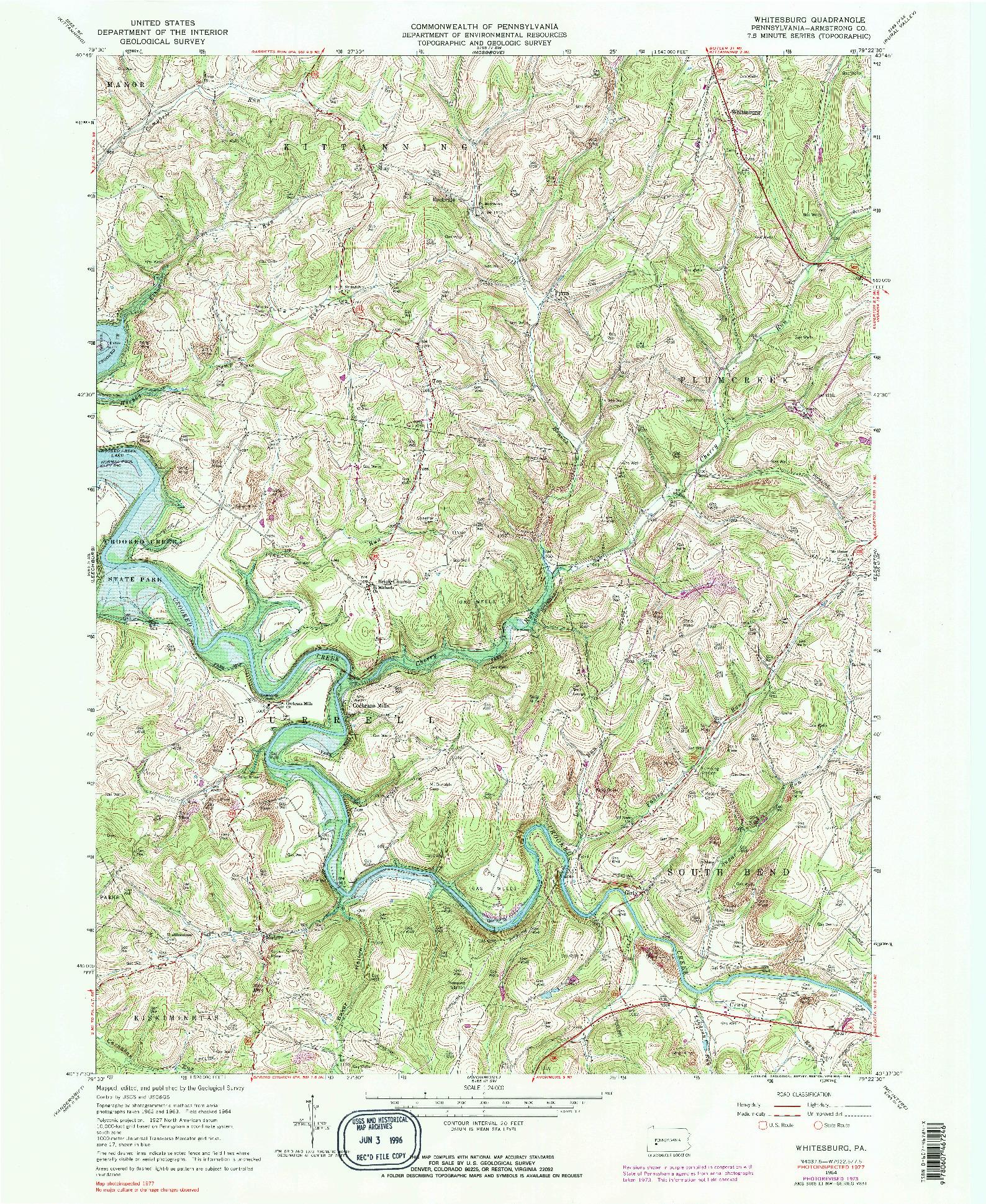 USGS 1:24000-SCALE QUADRANGLE FOR WHITESBURG, PA 1964