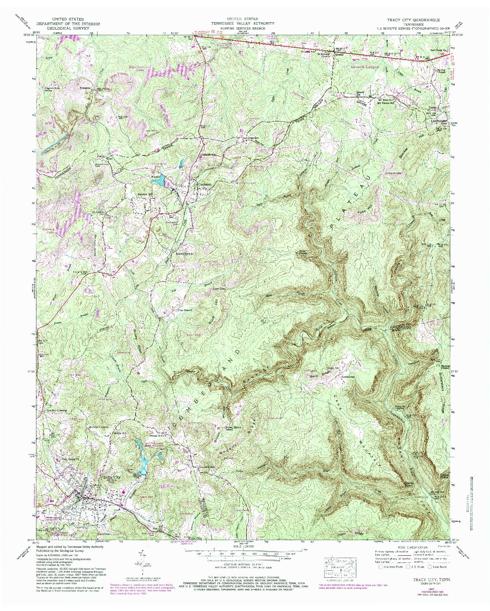 USGS 1:24000-SCALE QUADRANGLE FOR TRACY CITY, TN 1947