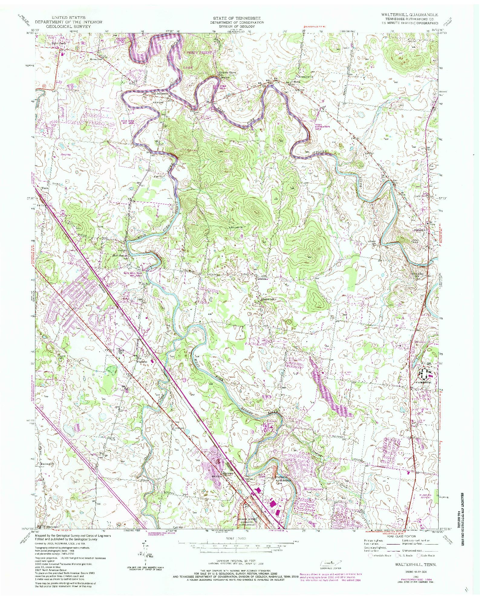 USGS 1:24000-SCALE QUADRANGLE FOR WALTERHILL, TN 1950