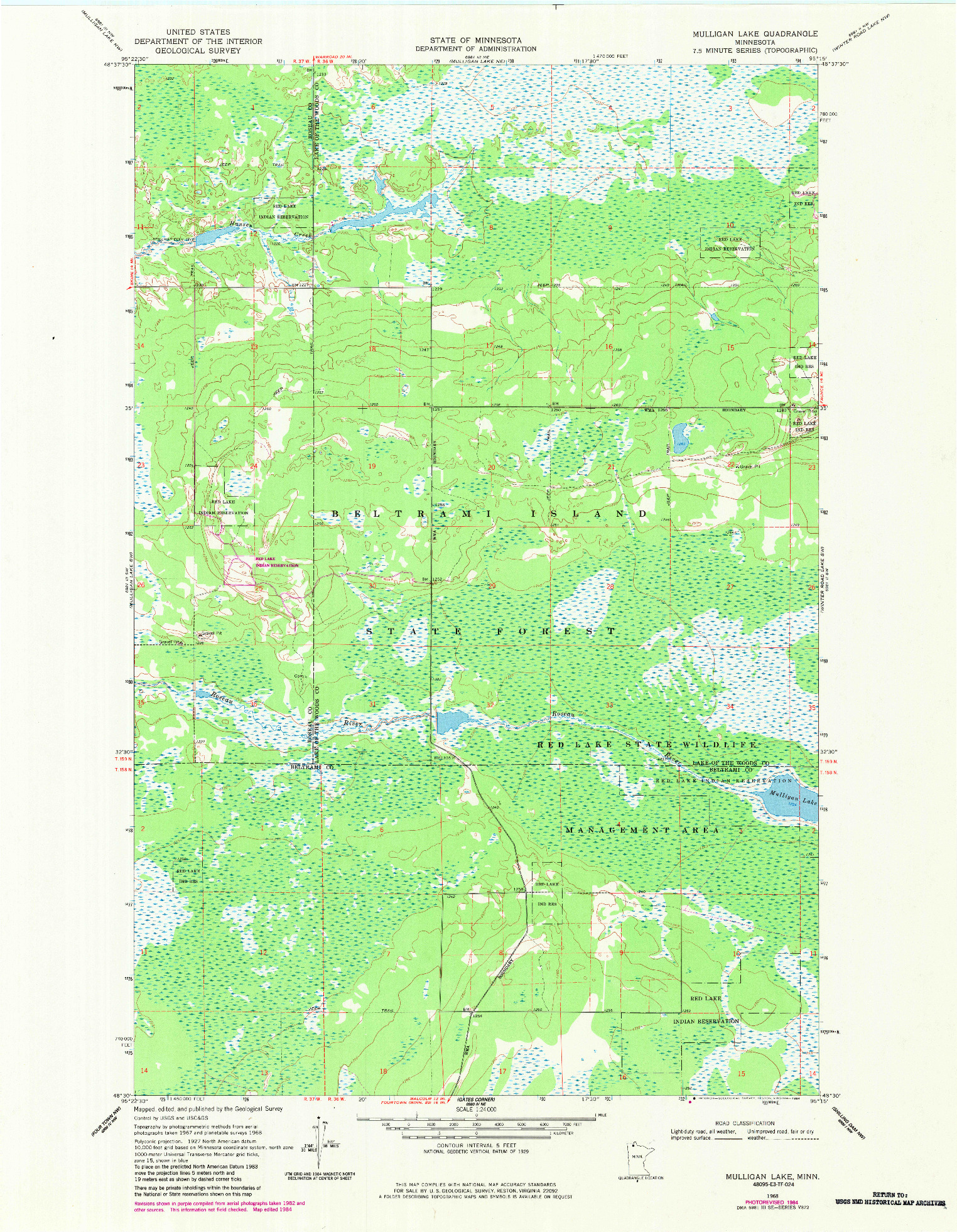 USGS 1:24000-SCALE QUADRANGLE FOR MULLIGAN LAKE, MN 1968