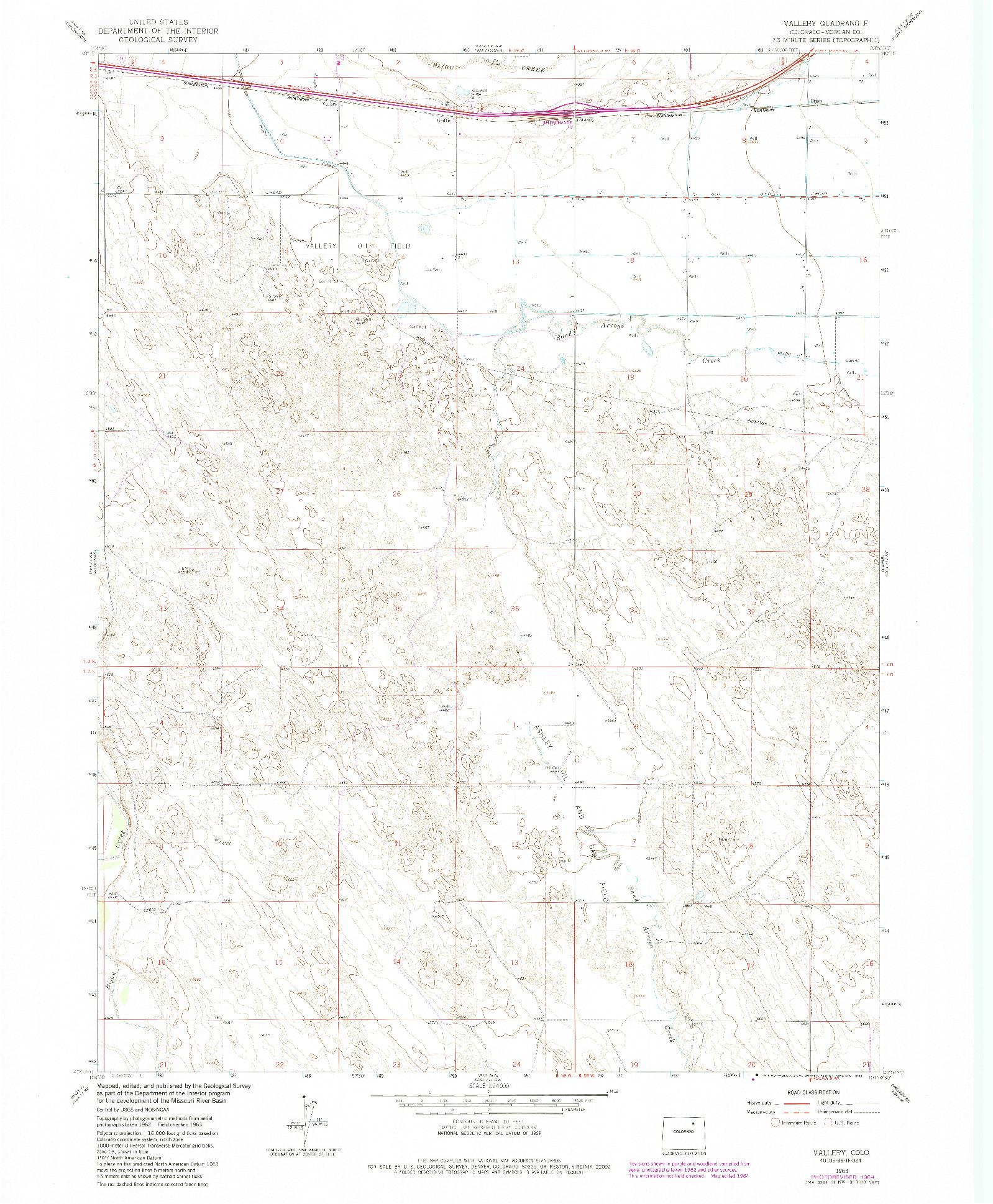 USGS 1:24000-SCALE QUADRANGLE FOR VALLERY, CO 1963