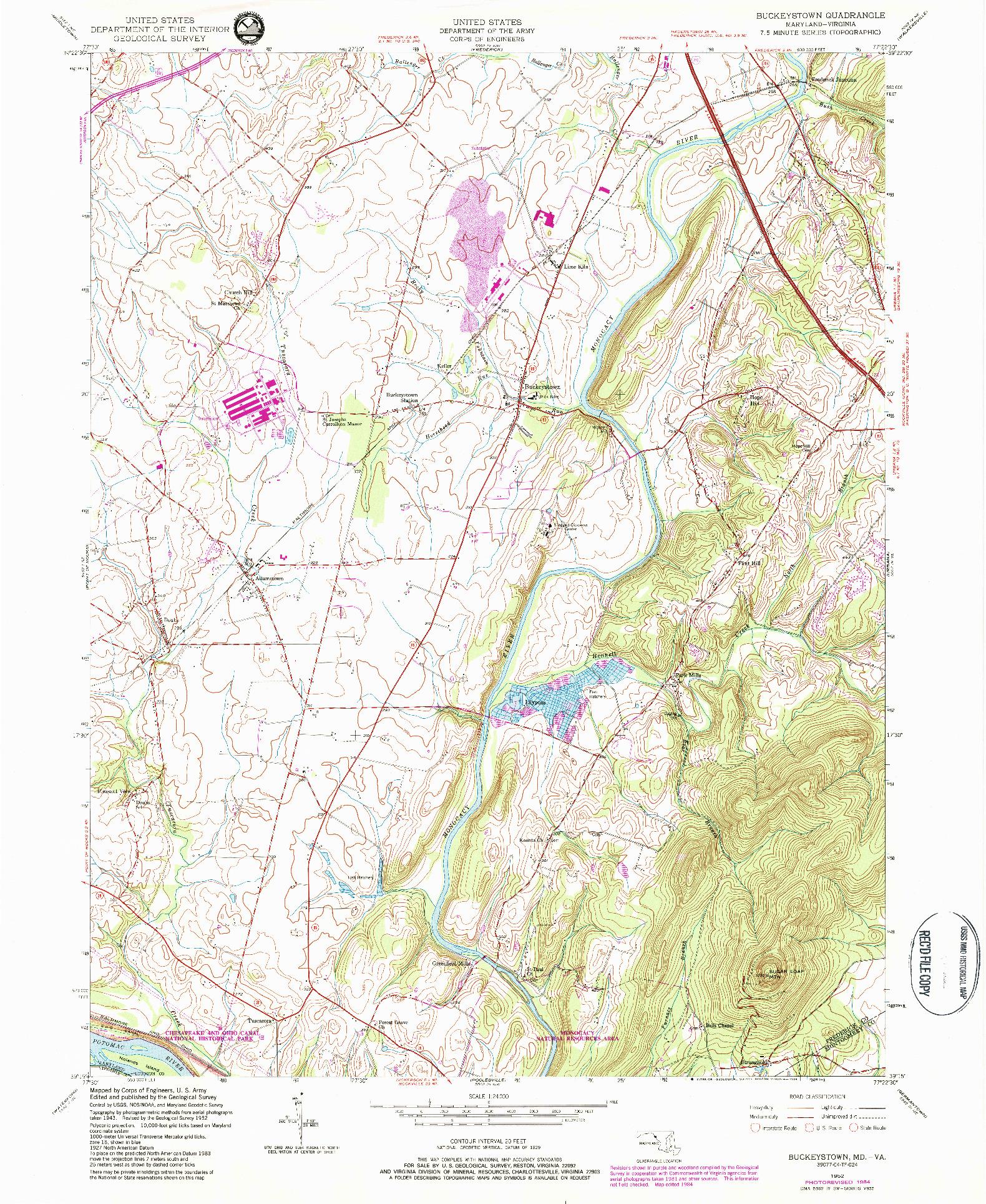 USGS 1:24000-SCALE QUADRANGLE FOR BUCKEYSTOWN, MD 1952