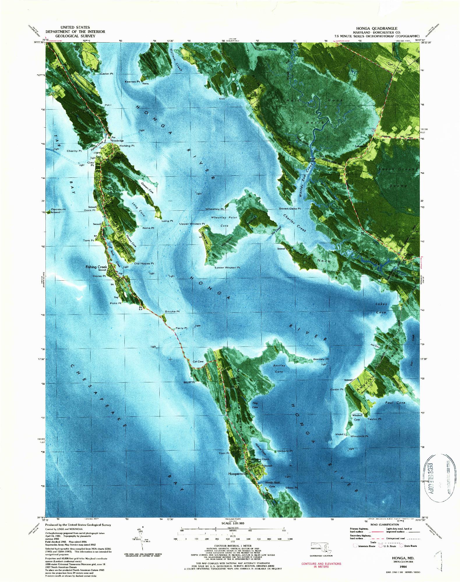 USGS 1:24000-SCALE QUADRANGLE FOR HONGA, MD 1984