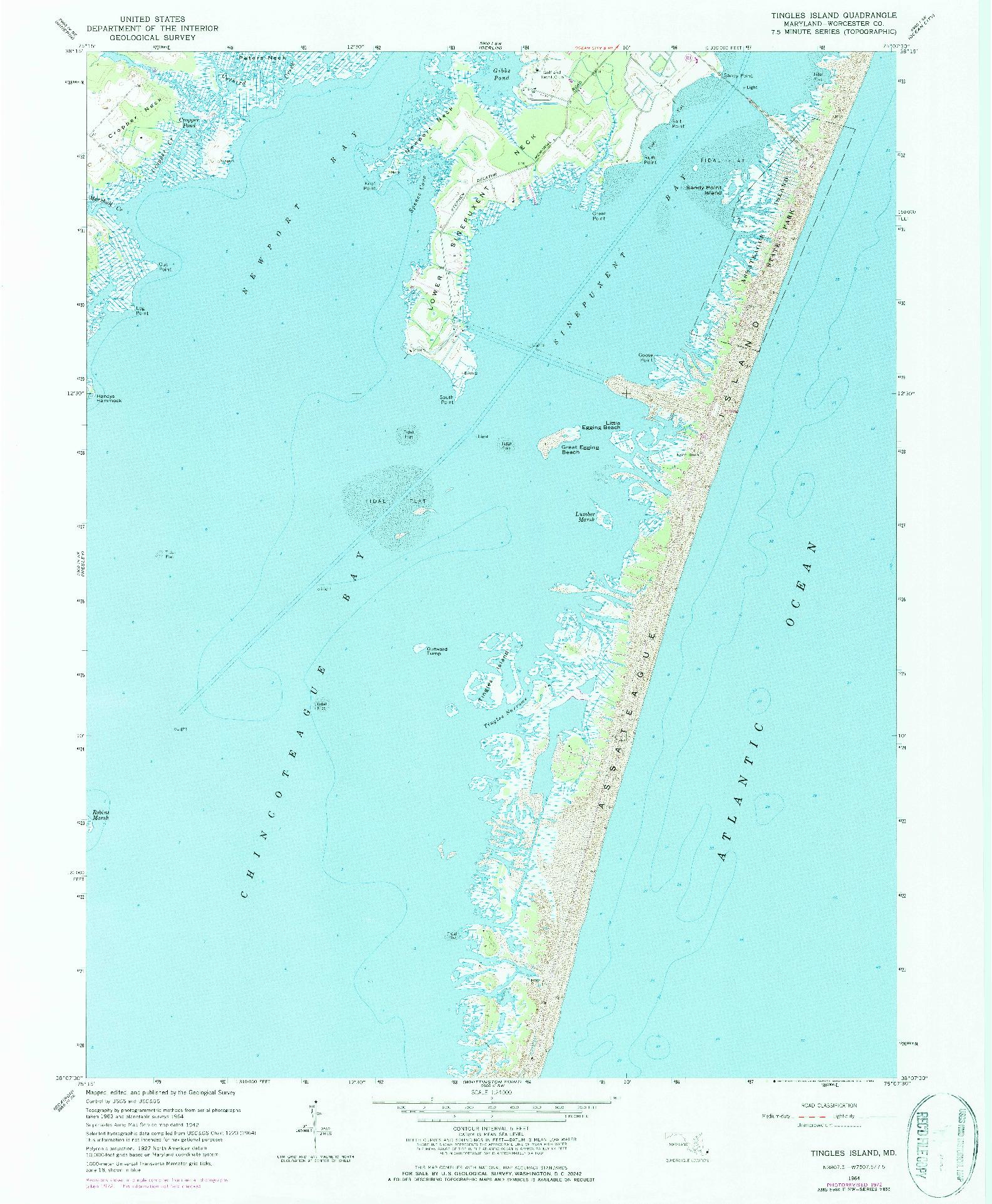 USGS 1:24000-SCALE QUADRANGLE FOR TINGLES ISLAND, MD 1964