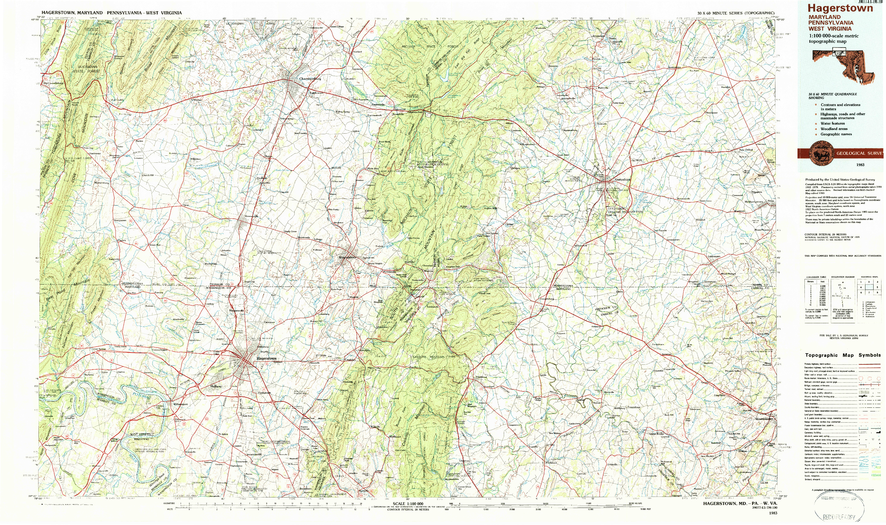 USGS 1:100000-SCALE QUADRANGLE FOR HAGERSTOWN, MD 1983