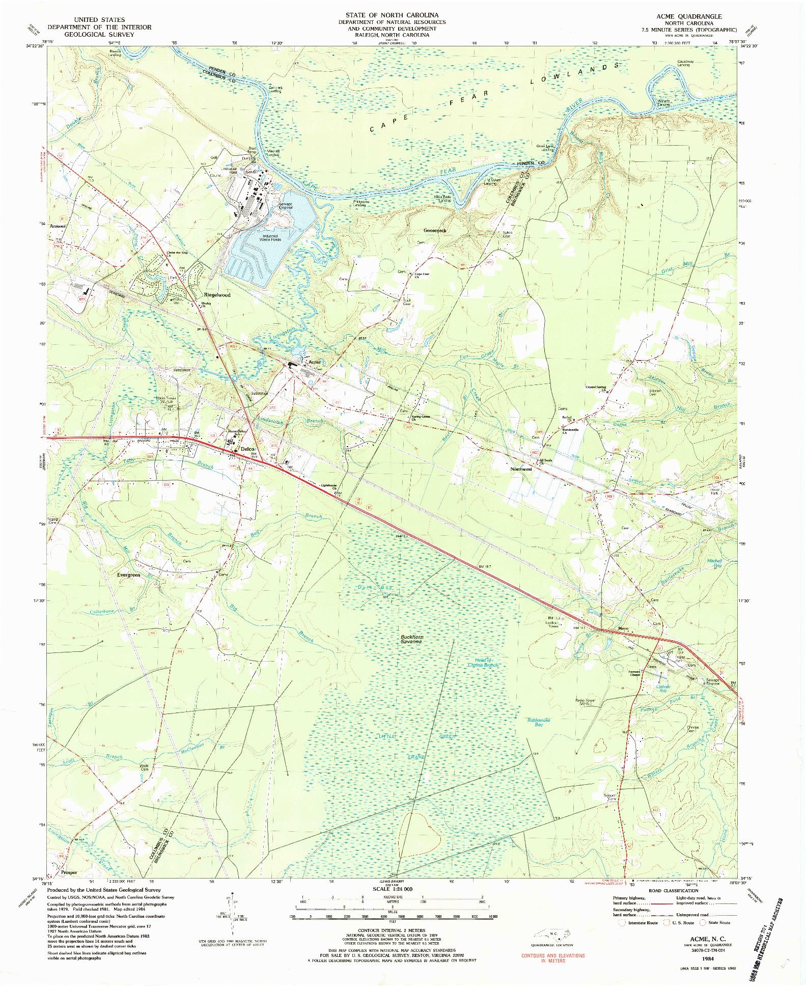 USGS 1:24000-SCALE QUADRANGLE FOR ACME, NC 1984
