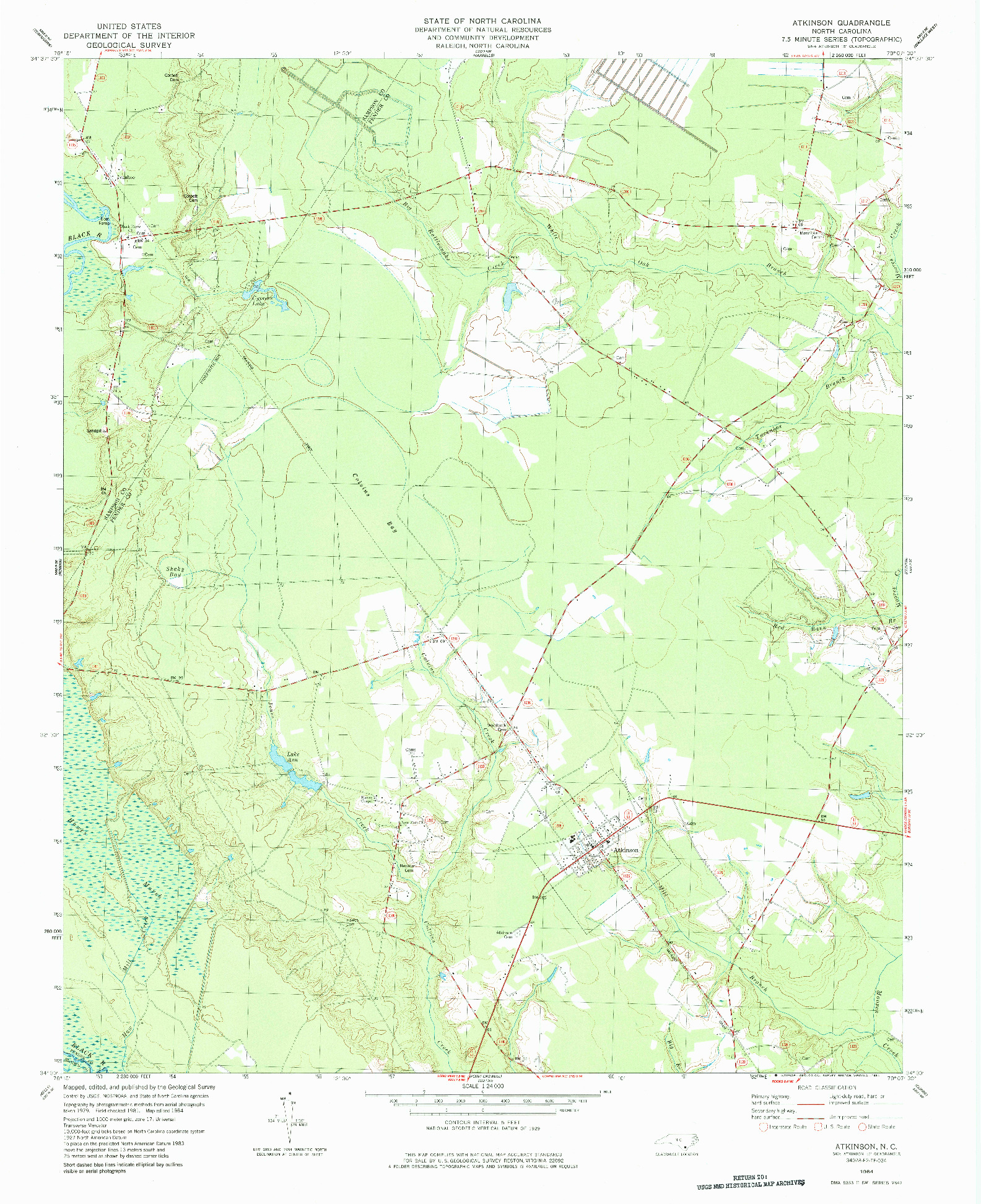 USGS 1:24000-SCALE QUADRANGLE FOR ATKINSON, NC 1984