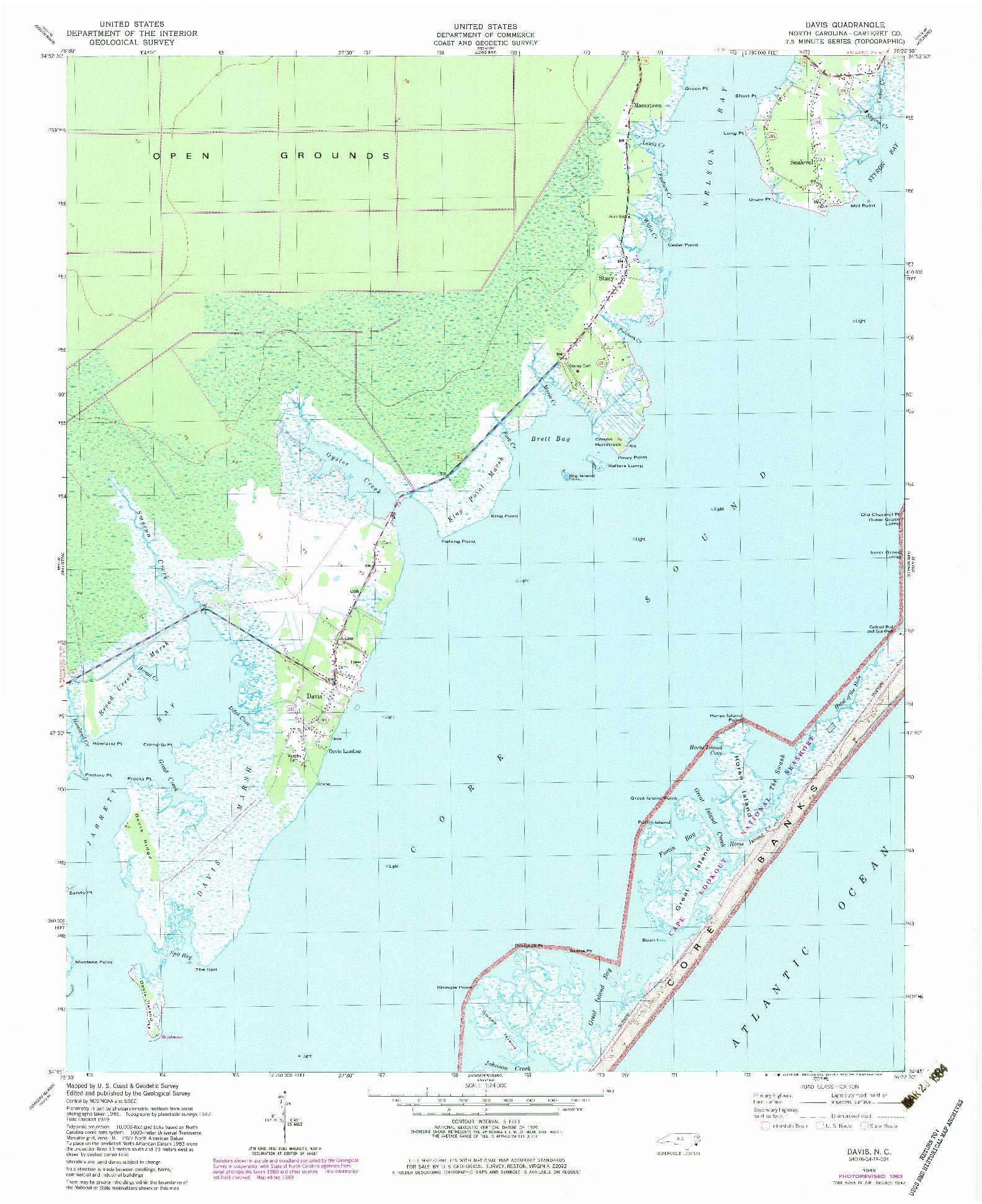 USGS 1:24000-SCALE QUADRANGLE FOR DAVIS, NC 1949