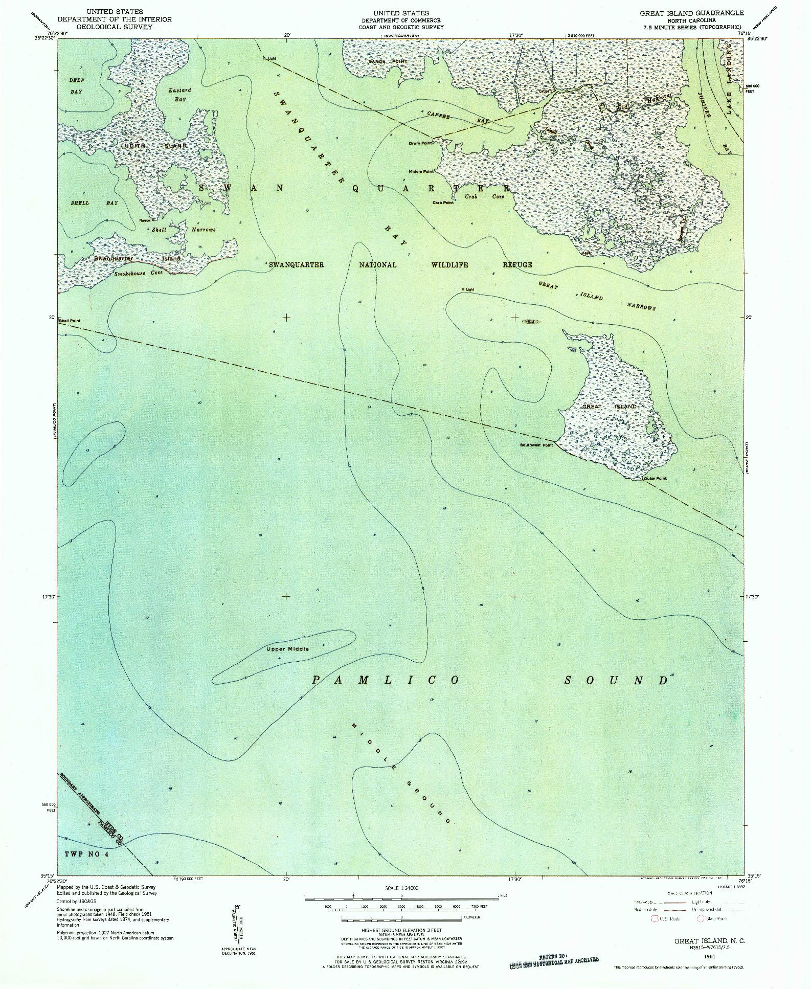 USGS 1:24000-SCALE QUADRANGLE FOR GREAT ISLAND, NC 1951
