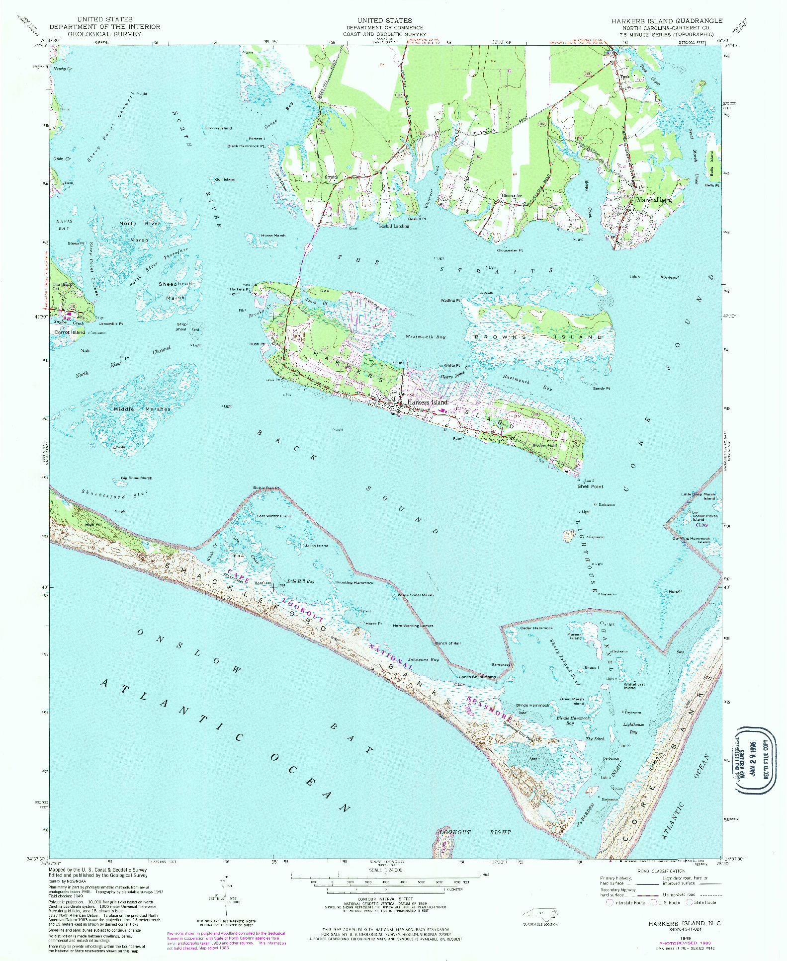 USGS 1:24000-SCALE QUADRANGLE FOR HARKERS ISLAND, NC 1949