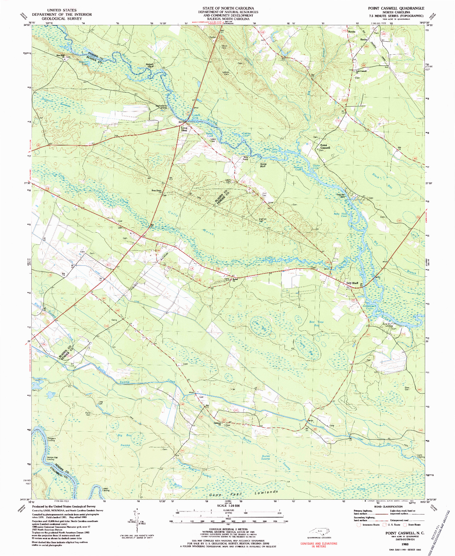 USGS 1:24000-SCALE QUADRANGLE FOR POINT CASWELL, NC 1983
