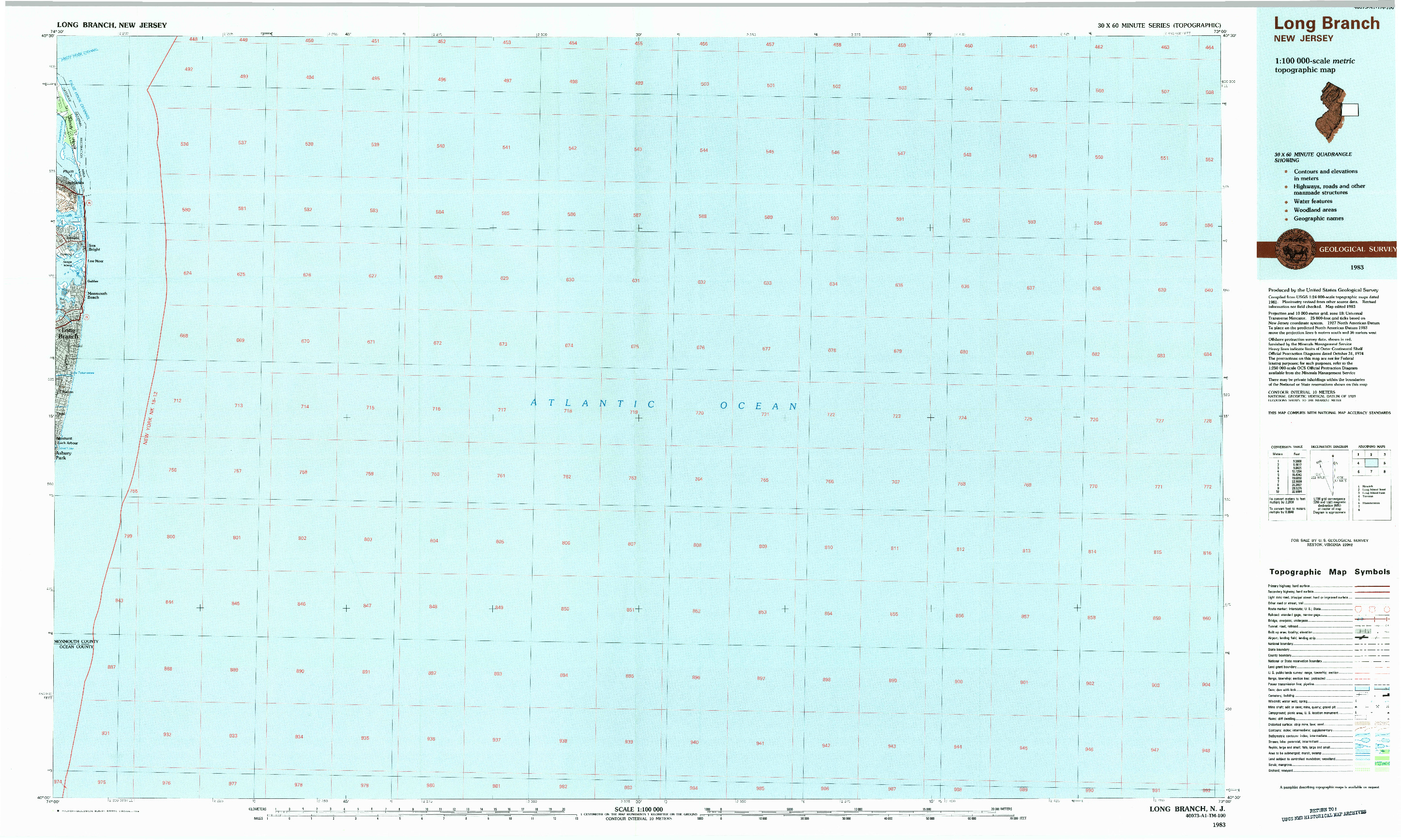 USGS 1:100000-SCALE QUADRANGLE FOR LONG BRANCH, NJ 1983
