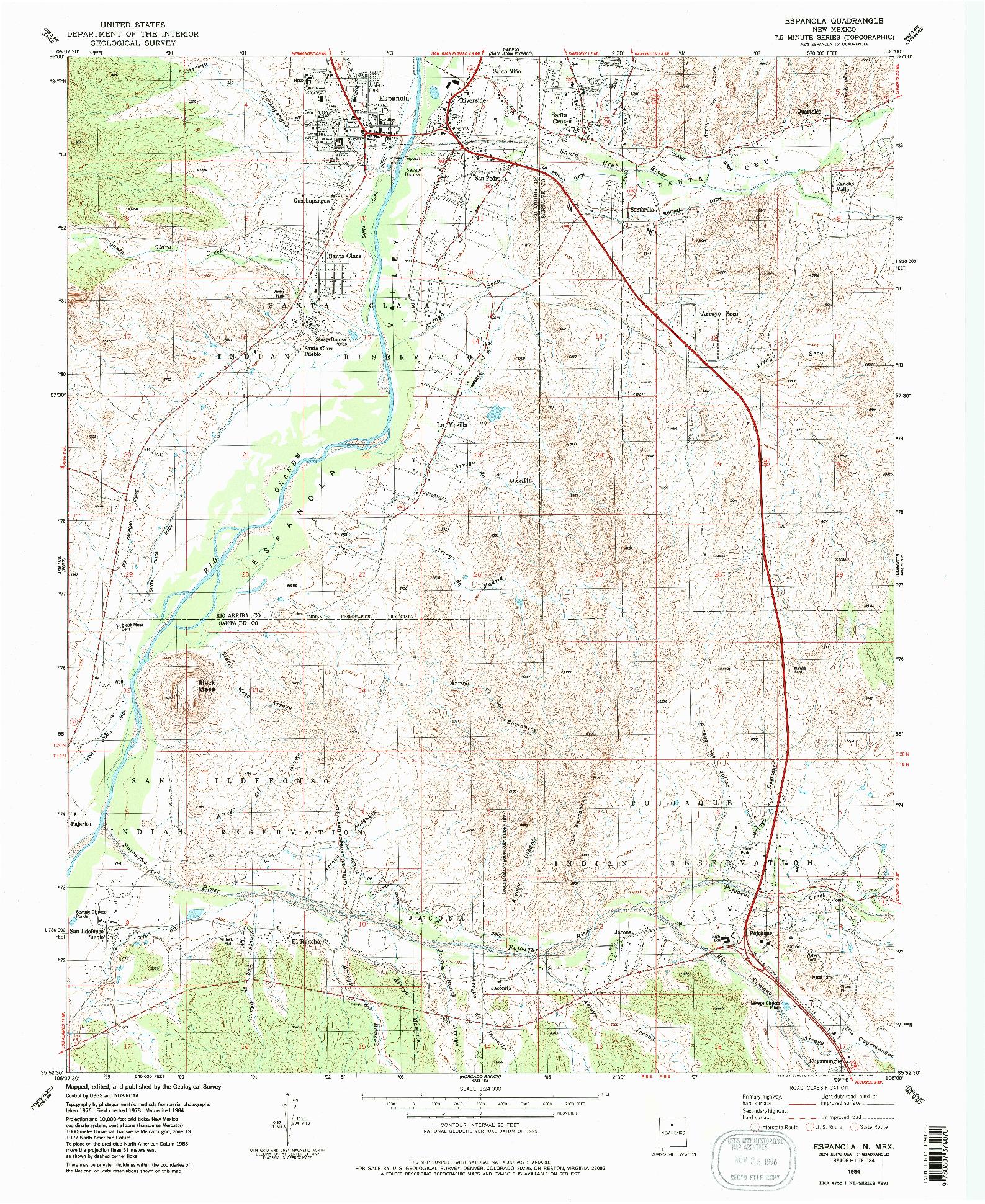 USGS 1:24000-SCALE QUADRANGLE FOR ESPANOLA, NM 1984