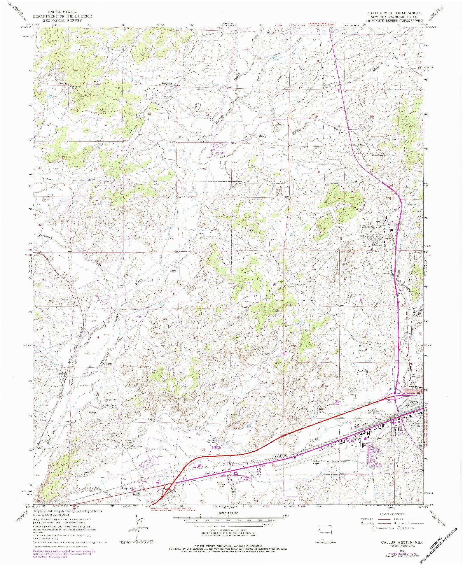 USGS 1:24000-SCALE QUADRANGLE FOR GALLUP WEST, NM 1963