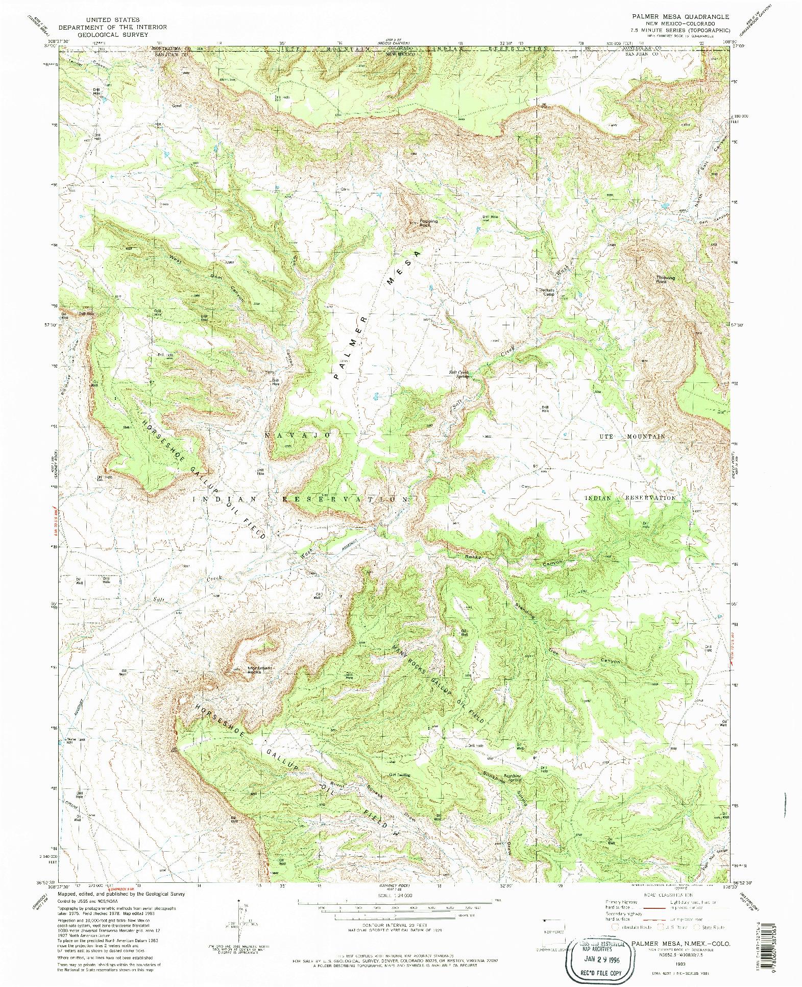 USGS 1:24000-SCALE QUADRANGLE FOR PALMER MESA, NM 1983