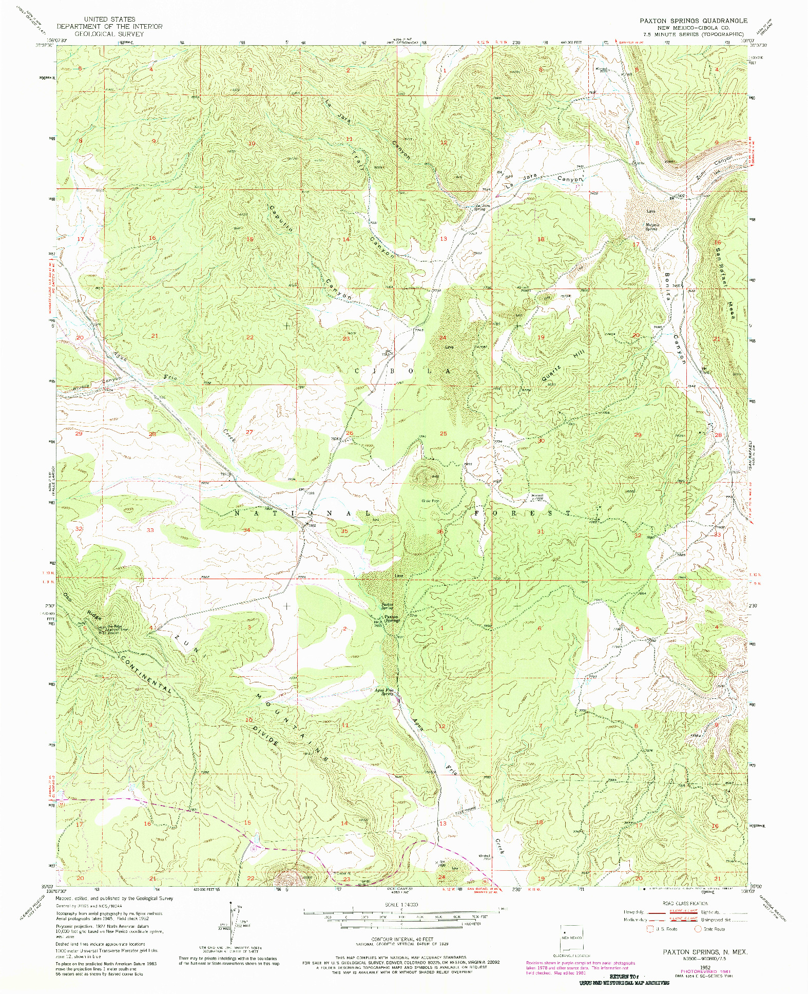 USGS 1:24000-SCALE QUADRANGLE FOR PAXTON SPRINGS, NM 1952