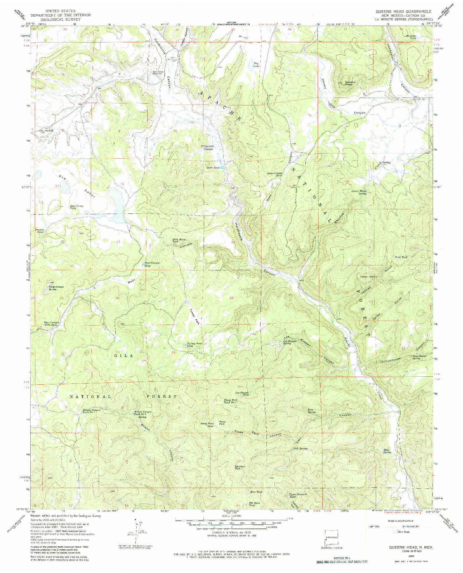USGS 1:24000-SCALE QUADRANGLE FOR QUEENS HEAD, NM 1965