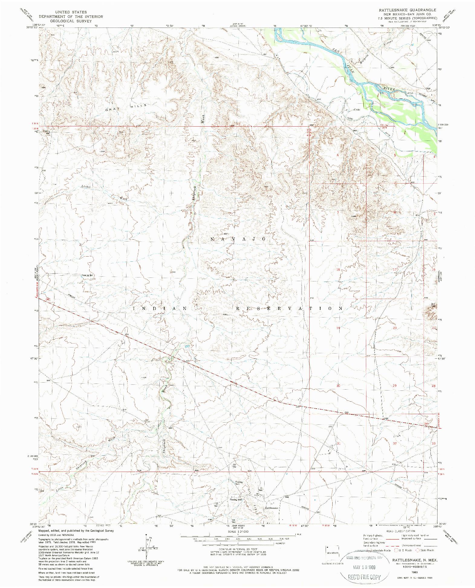 USGS 1:24000-SCALE QUADRANGLE FOR RATTLESNAKE, NM 1983