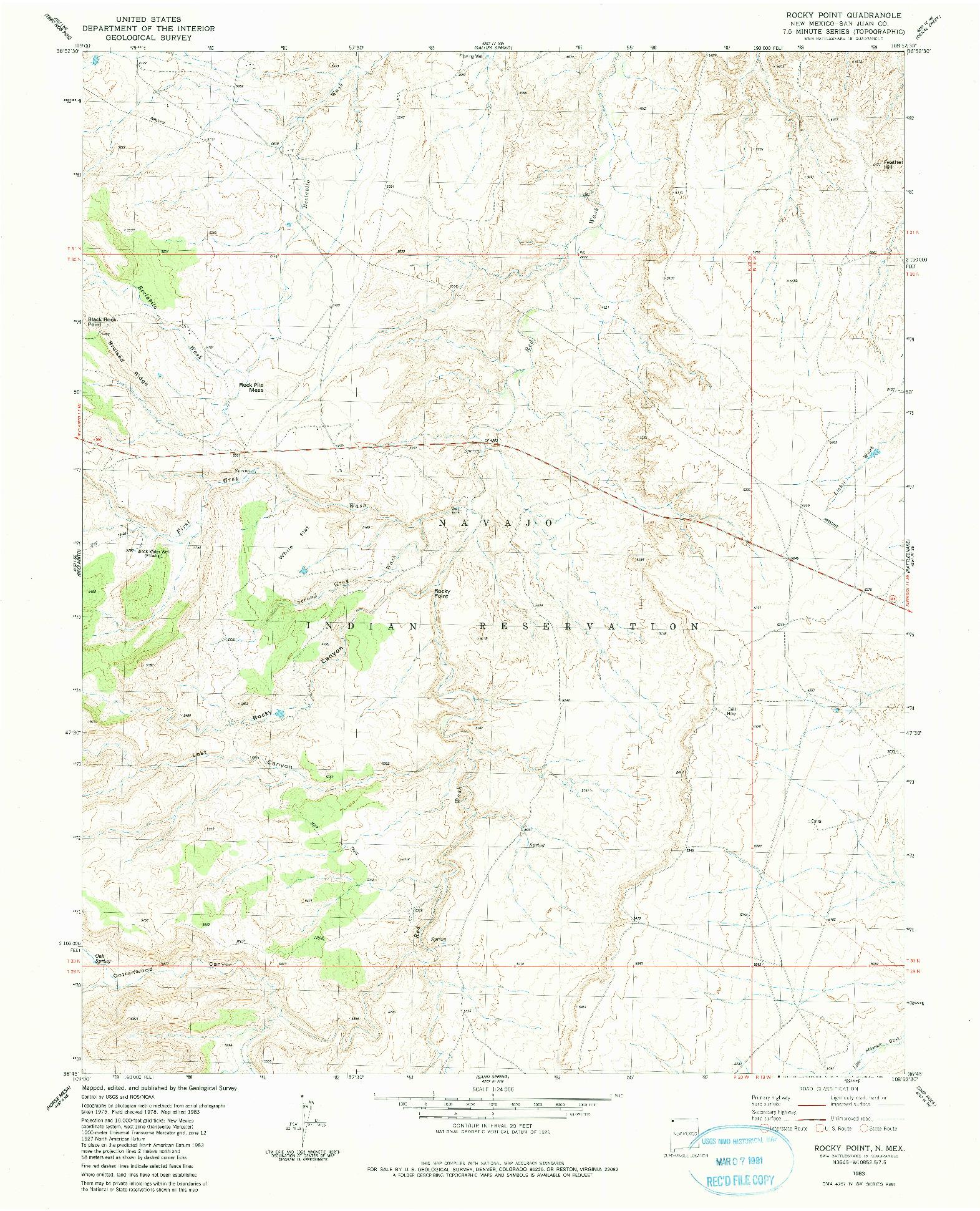 USGS 1:24000-SCALE QUADRANGLE FOR ROCKY POINT, NM 1983