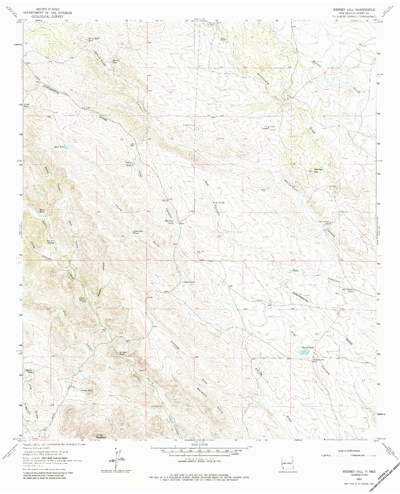 USGS 1:24000-SCALE QUADRANGLE FOR WERNEY HILL, NM 1963