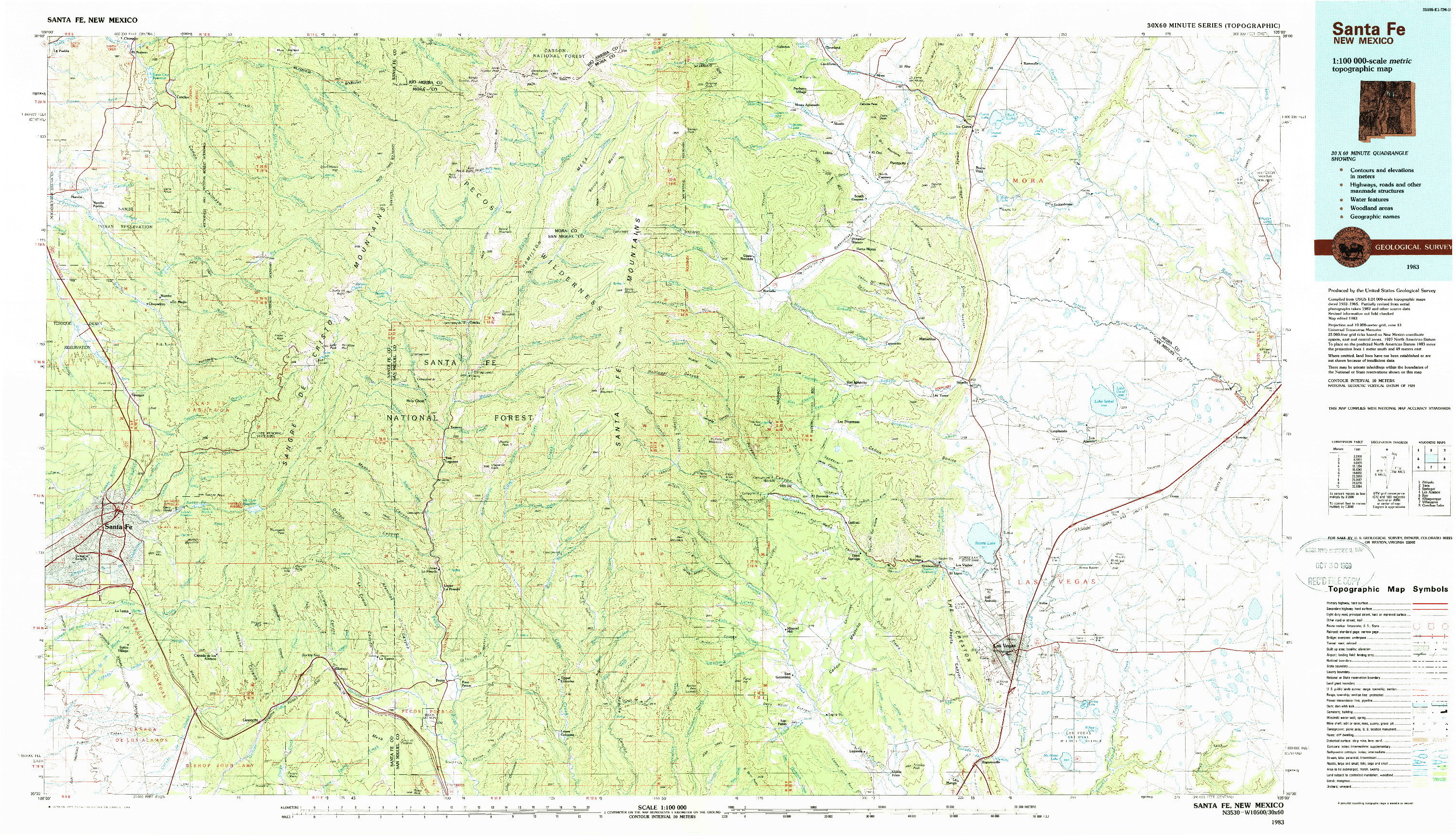 USGS 1:100000-SCALE QUADRANGLE FOR SANTA FE, NM 1983