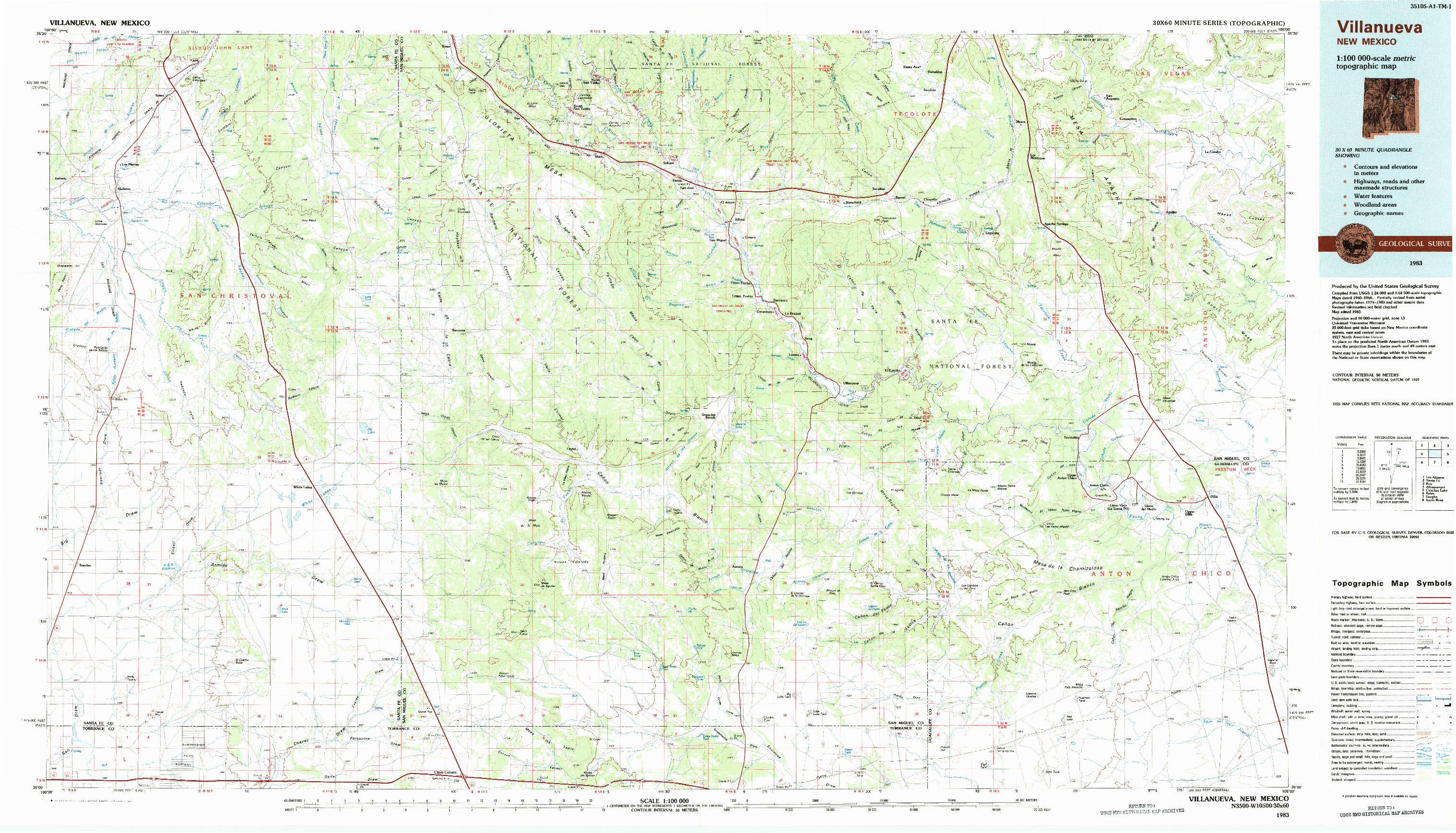 USGS 1:100000-SCALE QUADRANGLE FOR VILLANUEVA, NM 1983