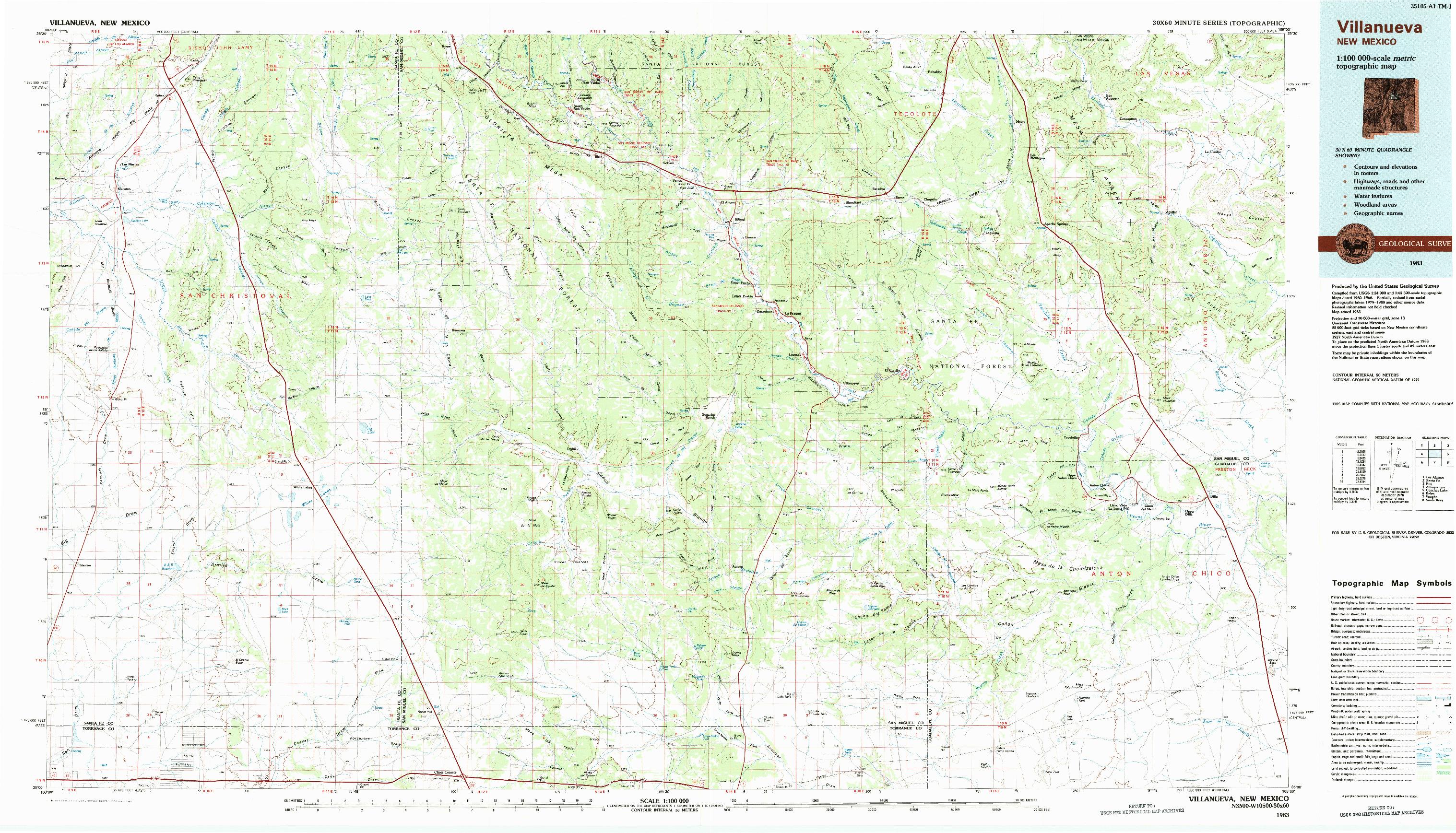 USGS 1:100000-SCALE QUADRANGLE FOR VILLANUEVA, NM 1983