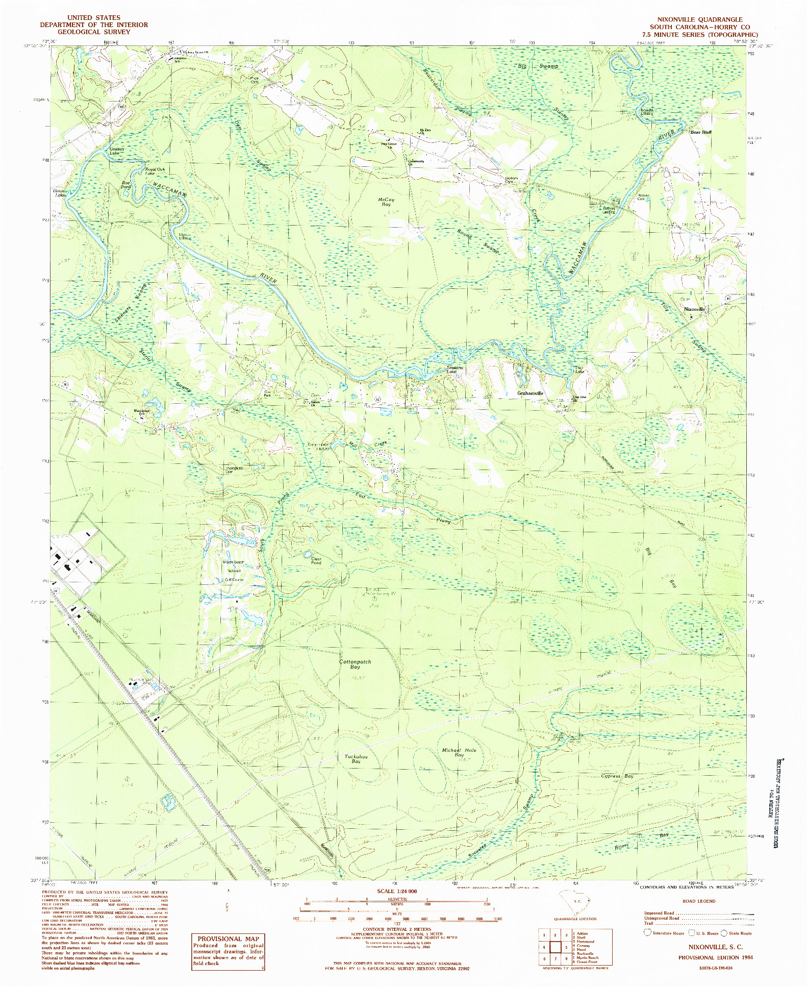 USGS 1:24000-SCALE QUADRANGLE FOR NIXONVILLE, SC 1984