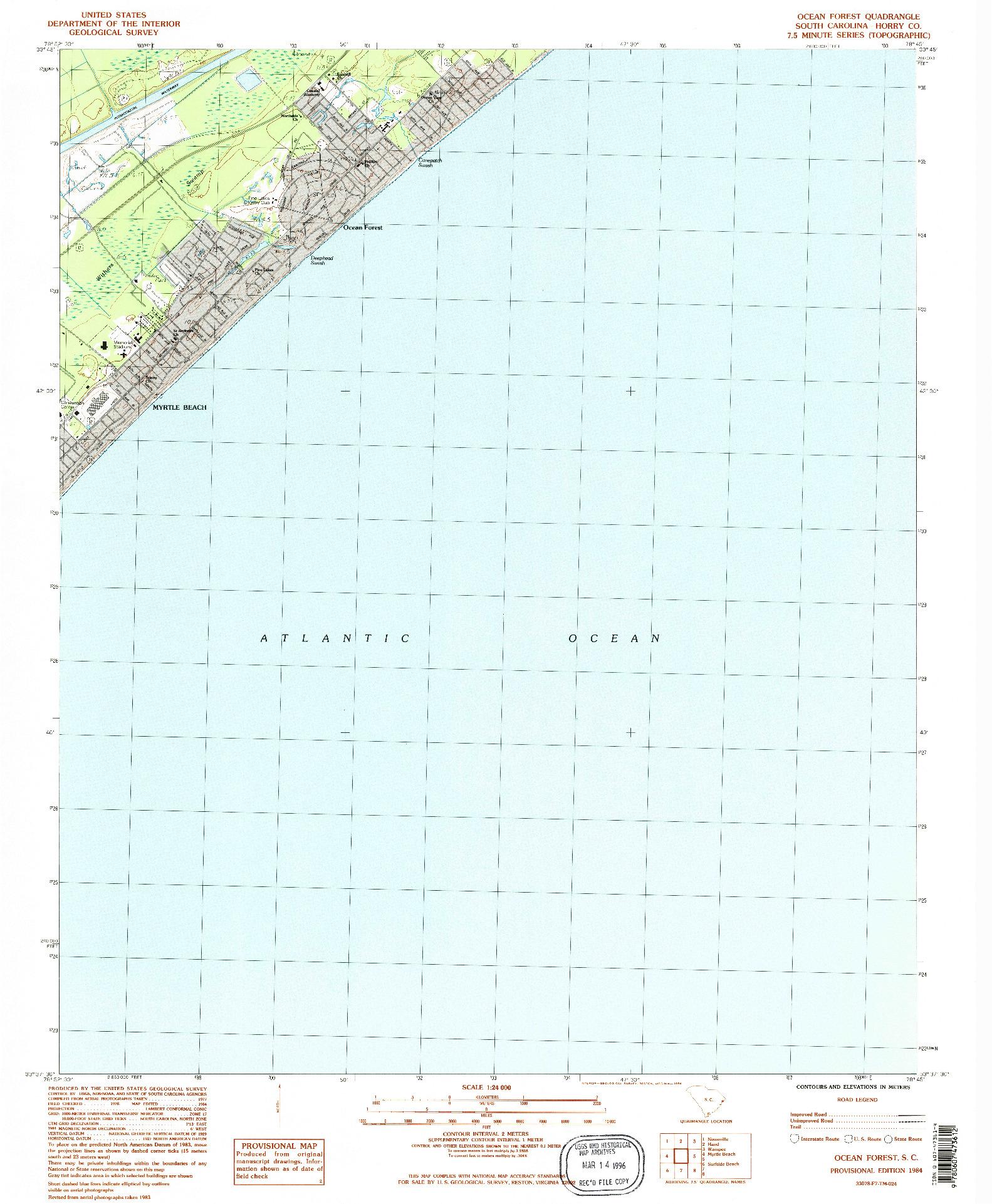 USGS 1:24000-SCALE QUADRANGLE FOR OCEAN FOREST, SC 1984