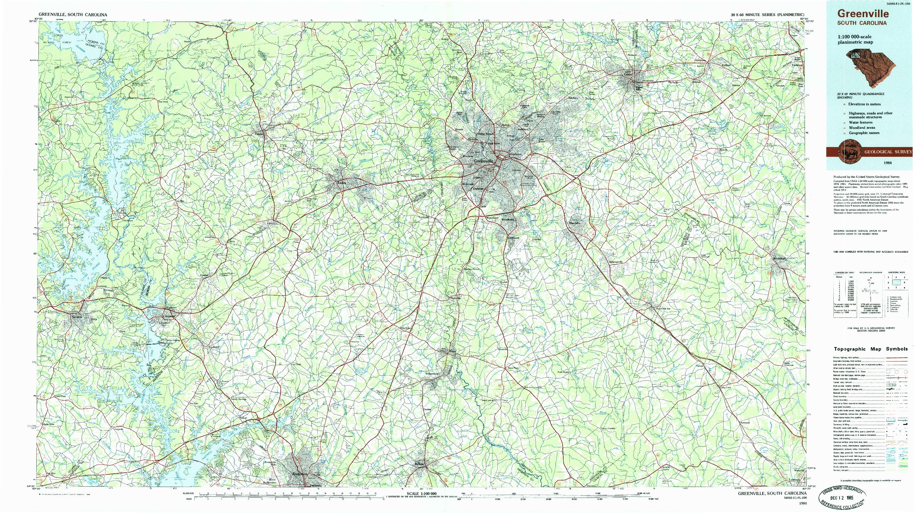 USGS 1:100000-SCALE QUADRANGLE FOR GREENVILLE, SC 1984