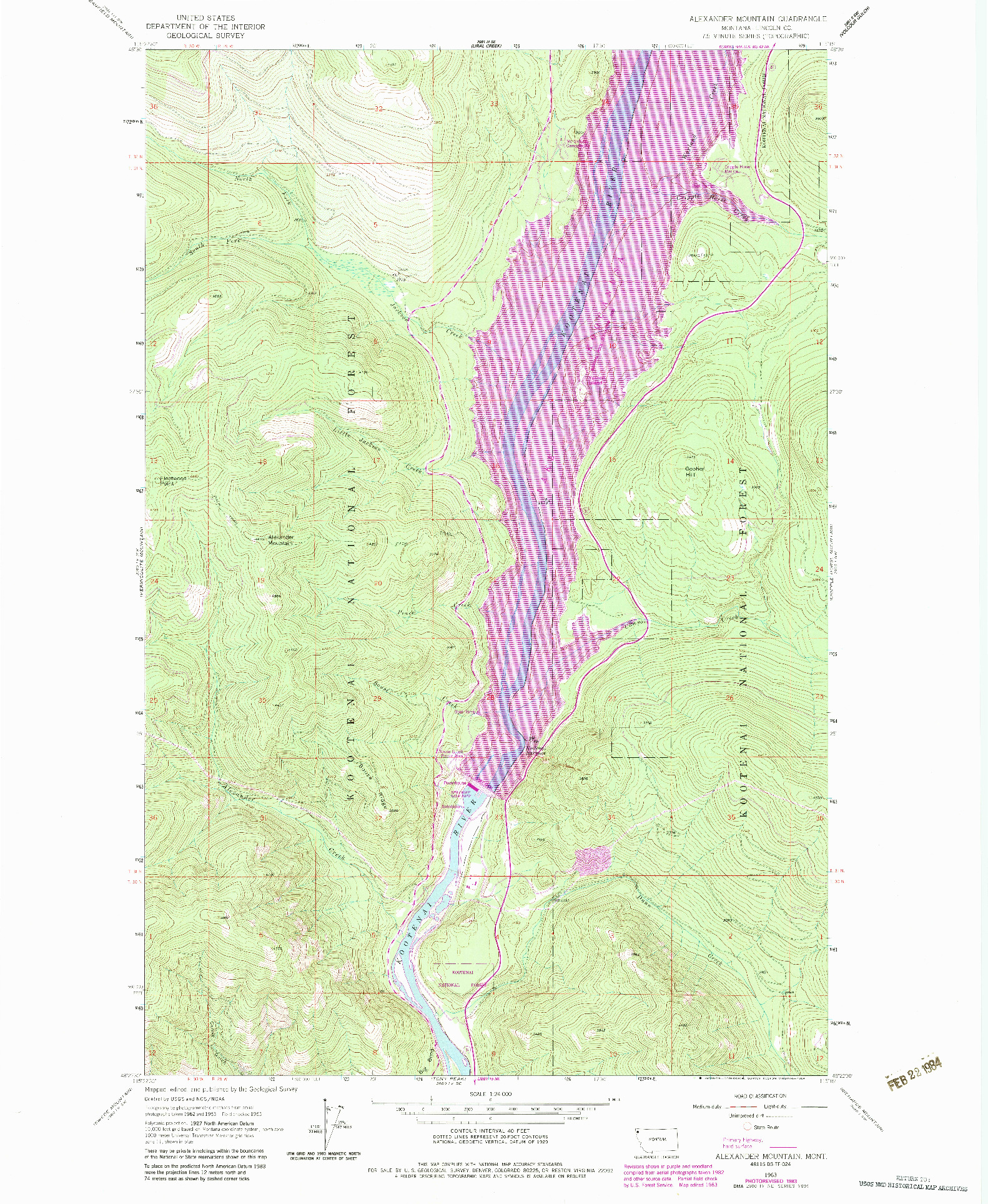 USGS 1:24000-SCALE QUADRANGLE FOR ALEXANDER MOUNTAIN, MT 1963