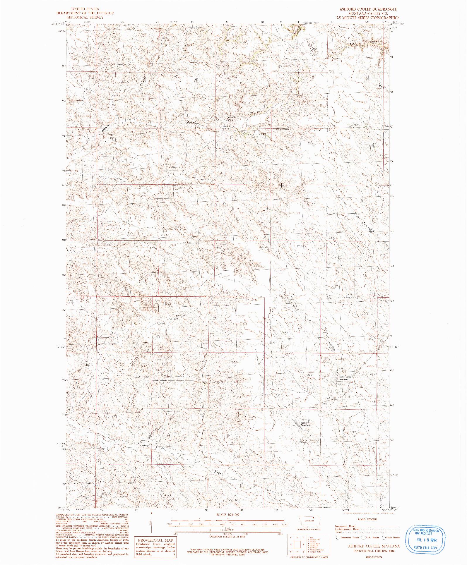 USGS 1:24000-SCALE QUADRANGLE FOR ASHFORD COULEE, MT 1984