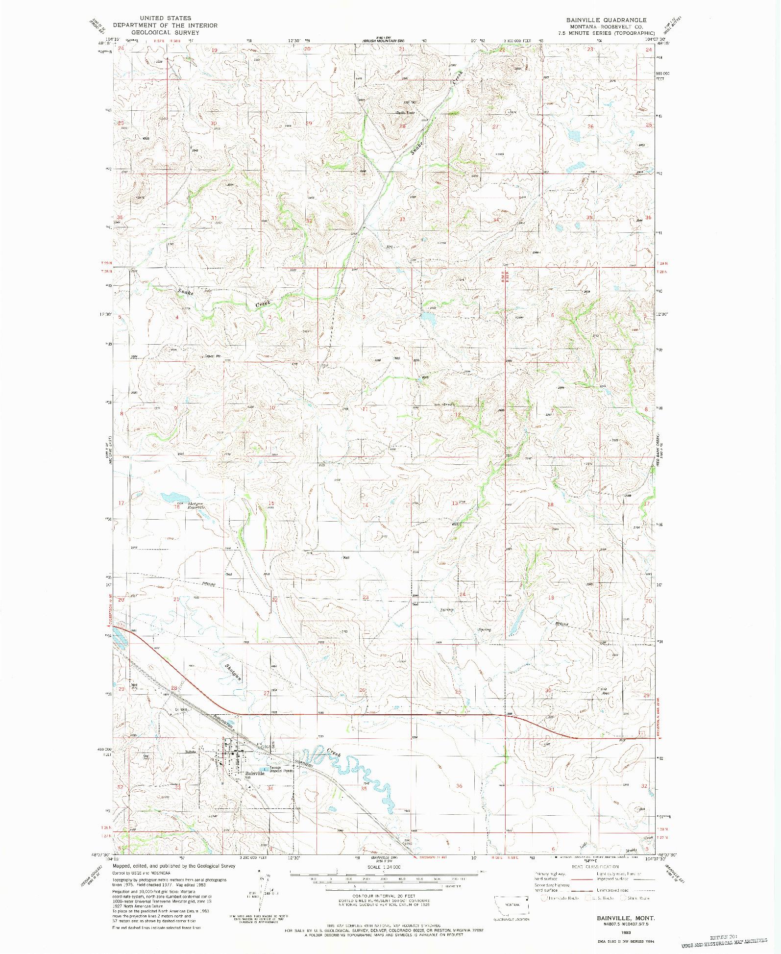 USGS 1:24000-SCALE QUADRANGLE FOR BAINVILLE, MT 1983
