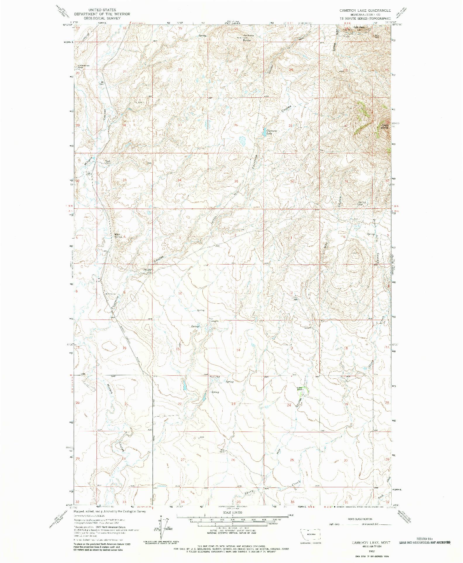 USGS 1:24000-SCALE QUADRANGLE FOR CAMERON LAKE, MT 1962